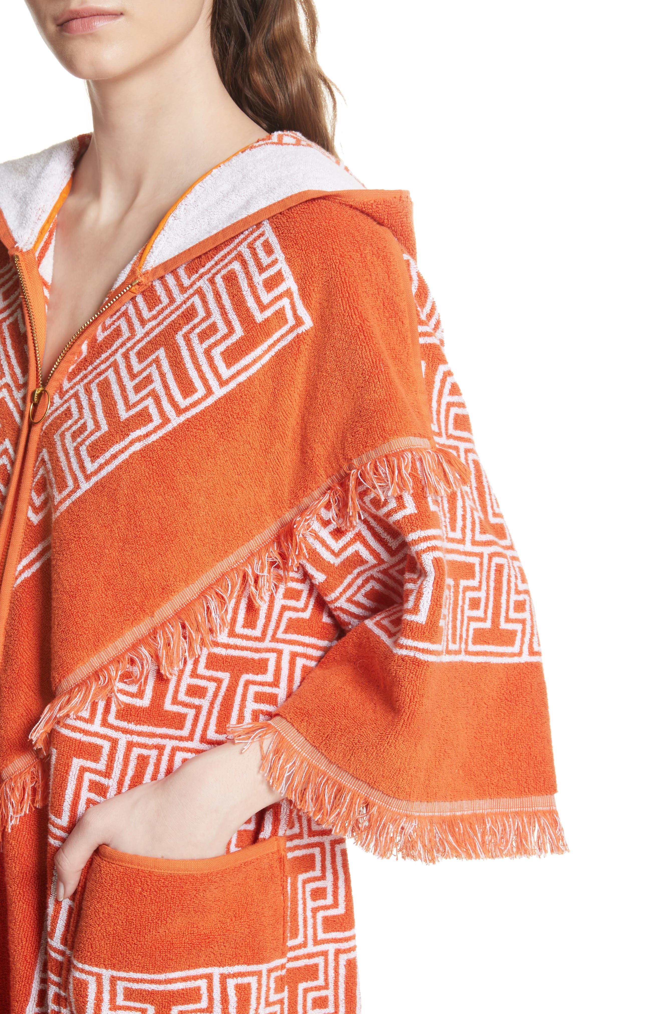 Tile T Terry Coat,                             Alternate thumbnail 4, color,                             Orange Towel Jacquard