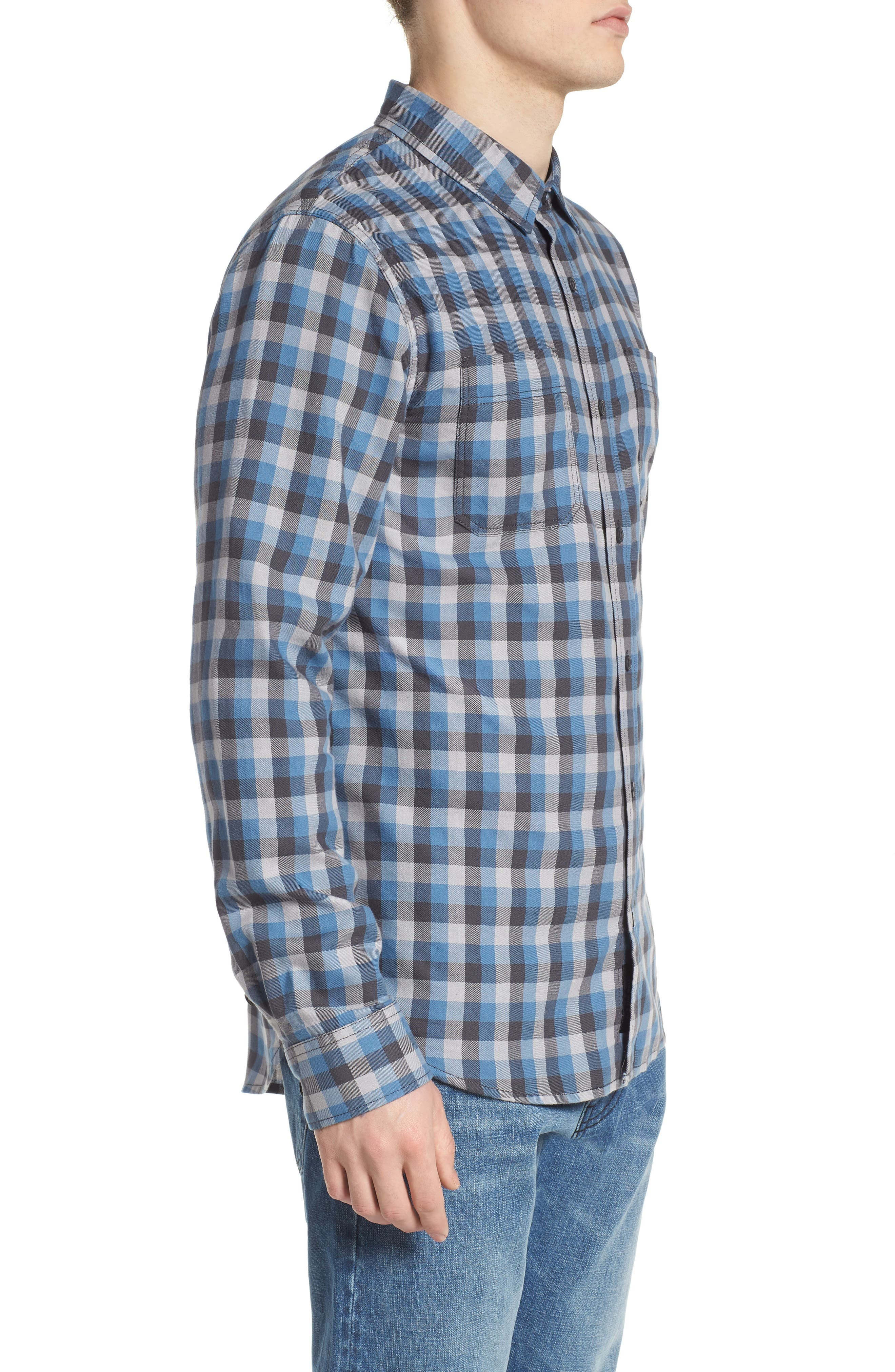 Alameda II Plaid Flannel Shirt,                             Alternate thumbnail 3, color,                             Asphalt/ Copen Blue