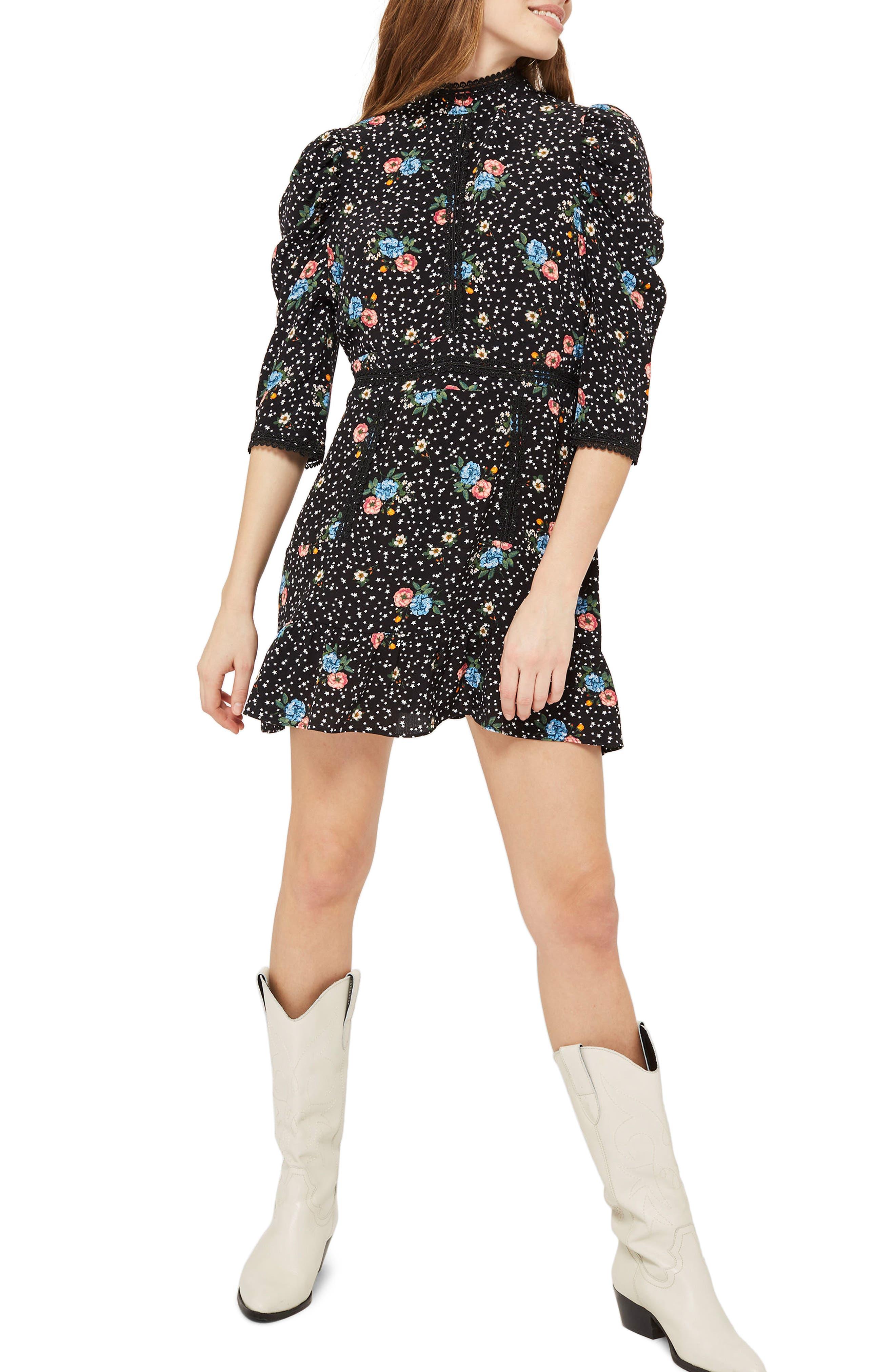 Star Floral Lace Minidress,                         Main,                         color, Black Multi