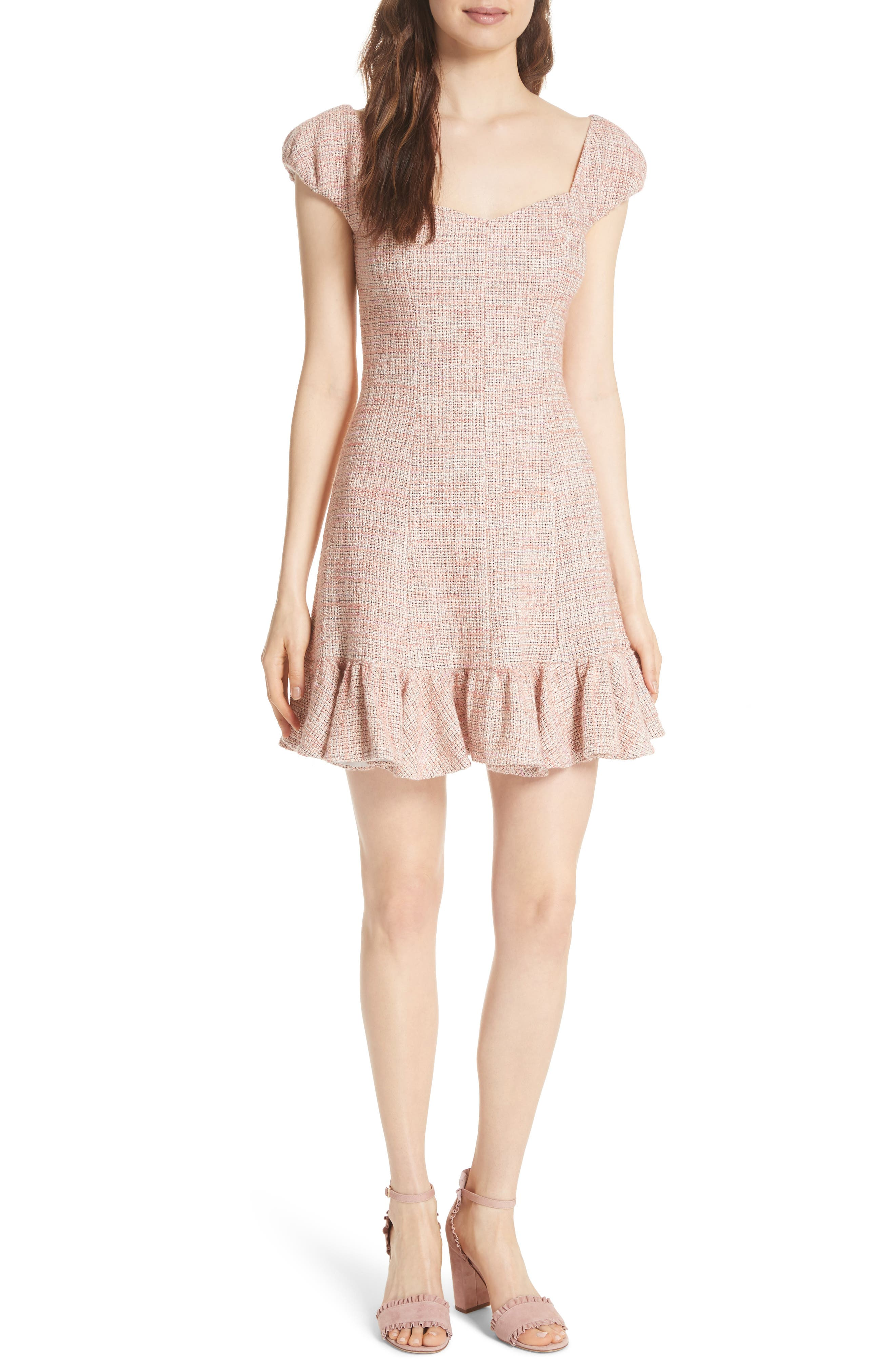 Cap Sleeve Tweed Dress,                         Main,                         color, Rosy Nude Combo