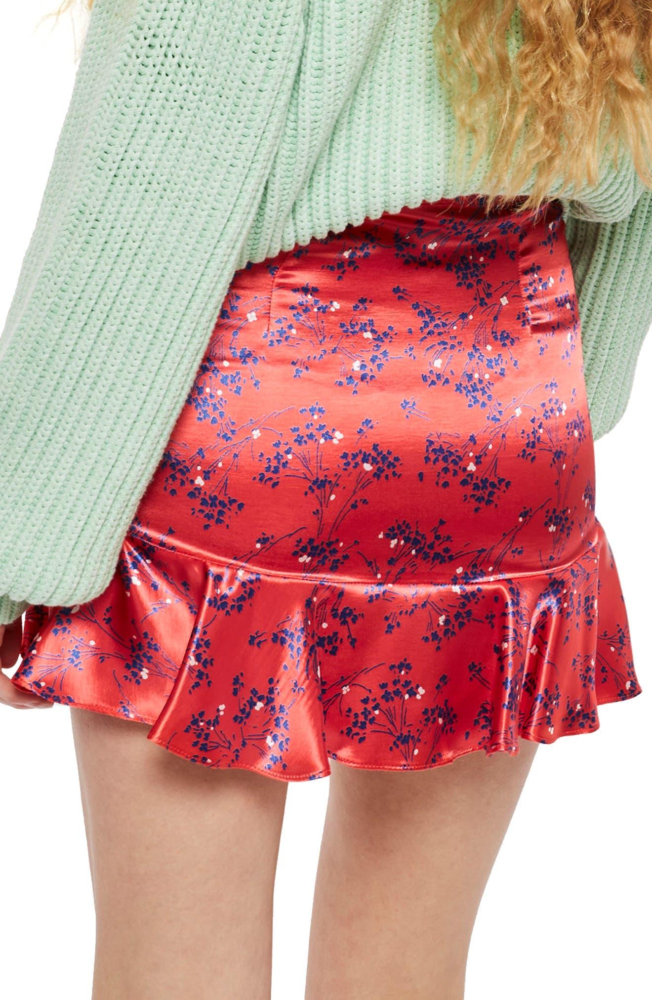 Floral Print Miniskirt,                             Alternate thumbnail 3, color,                             Red Multi