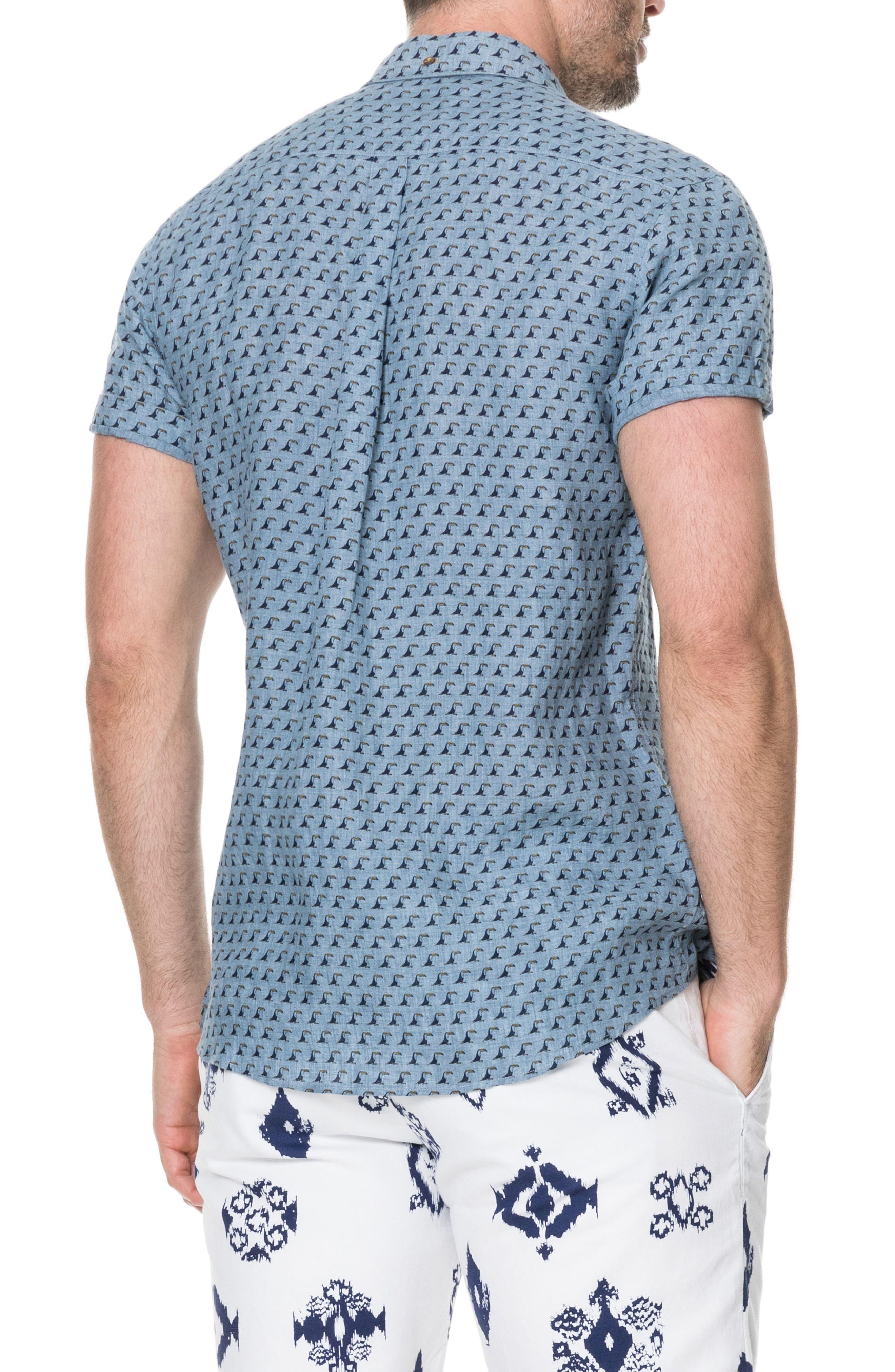 York Bay Slim Fit Print Linen Sport Shirt,                             Alternate thumbnail 3, color,                             Stonewash