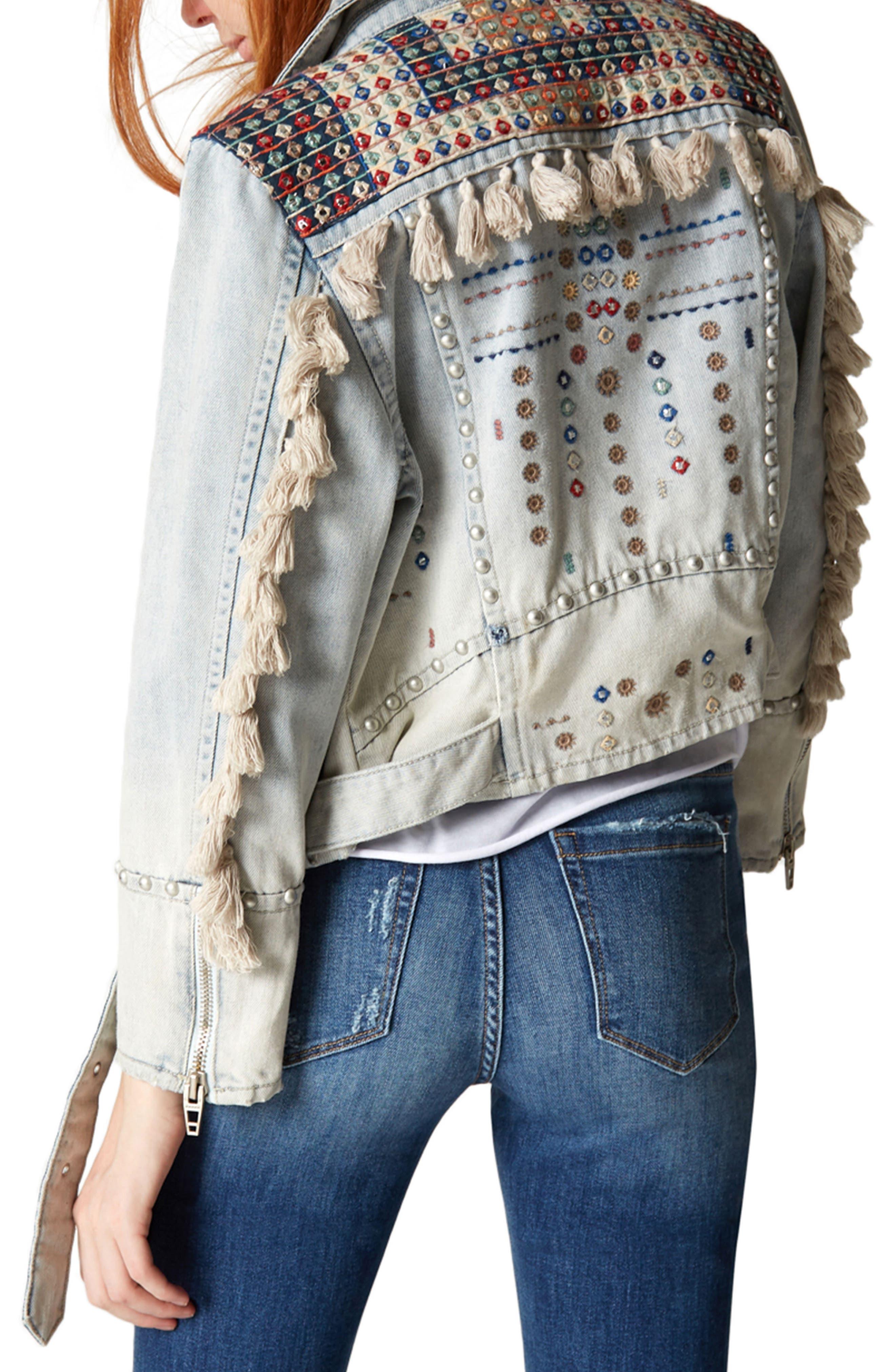 Alternate Image 2  - BLANKNYC Wind Tassel Trim Denim Jacket