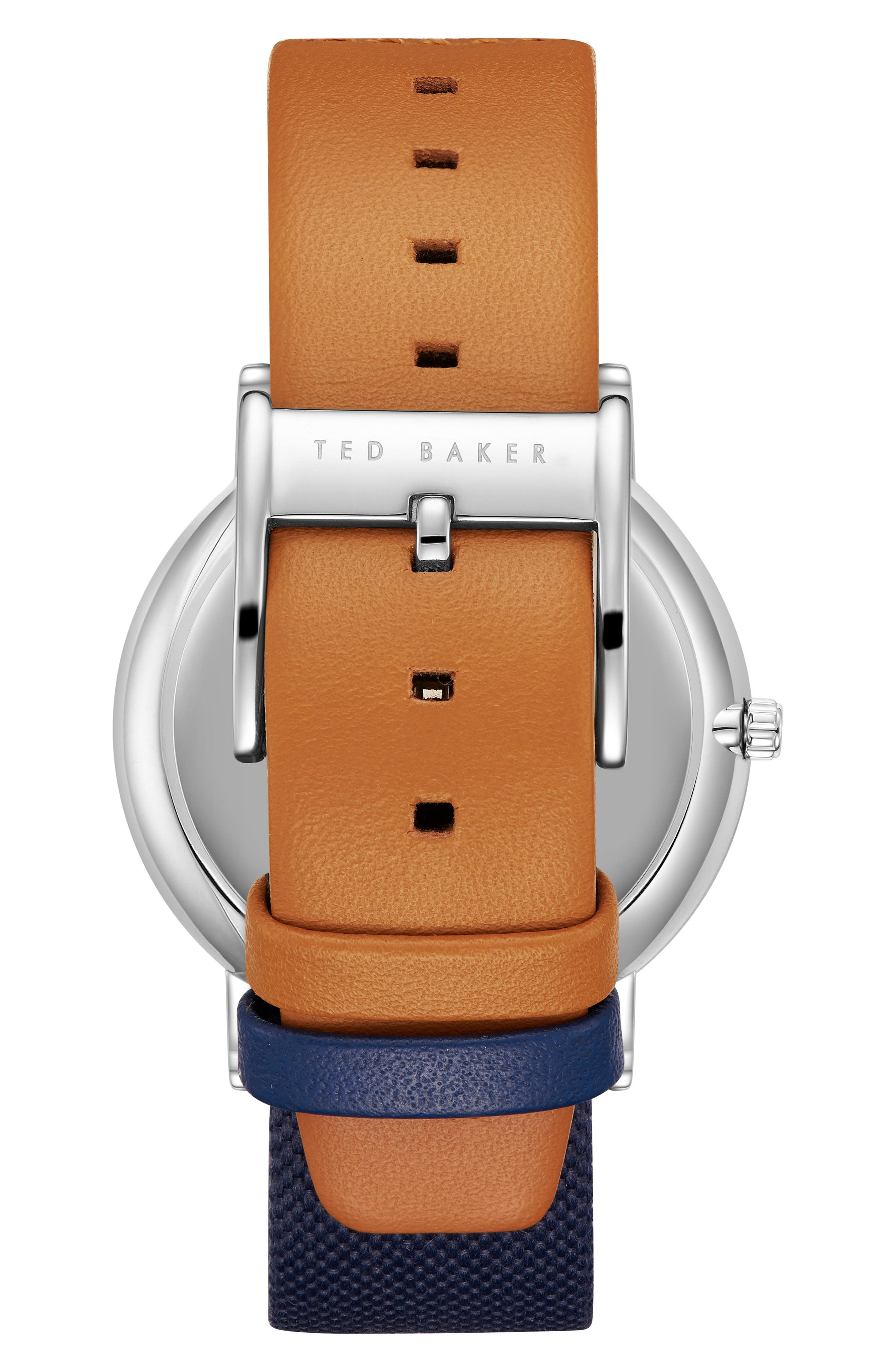 Brit Multifunction Leather Strap Watch, 40mm,                             Alternate thumbnail 2, color,                             Silver/ Navy