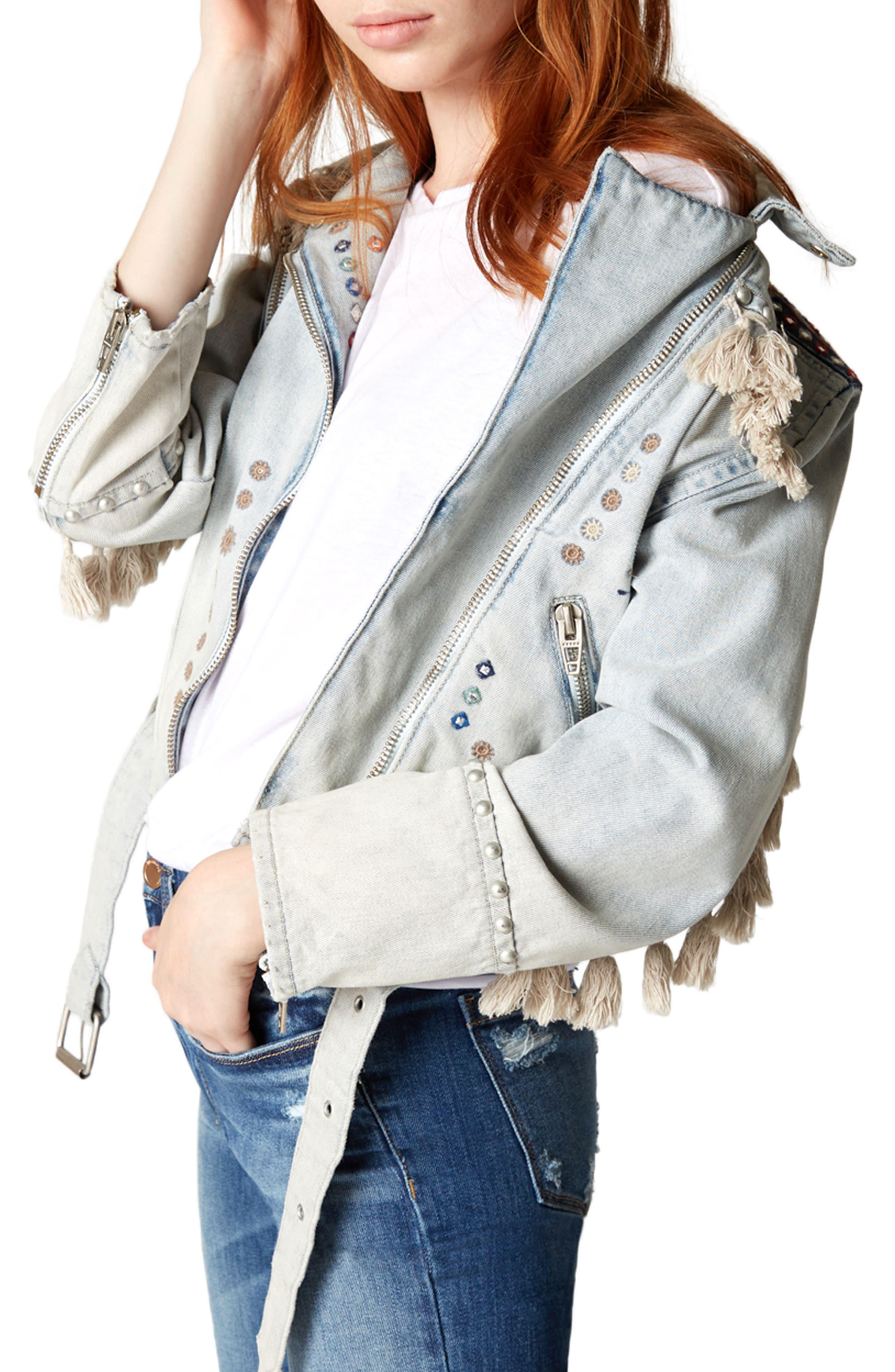 Alternate Image 3  - BLANKNYC Wind Tassel Trim Denim Jacket