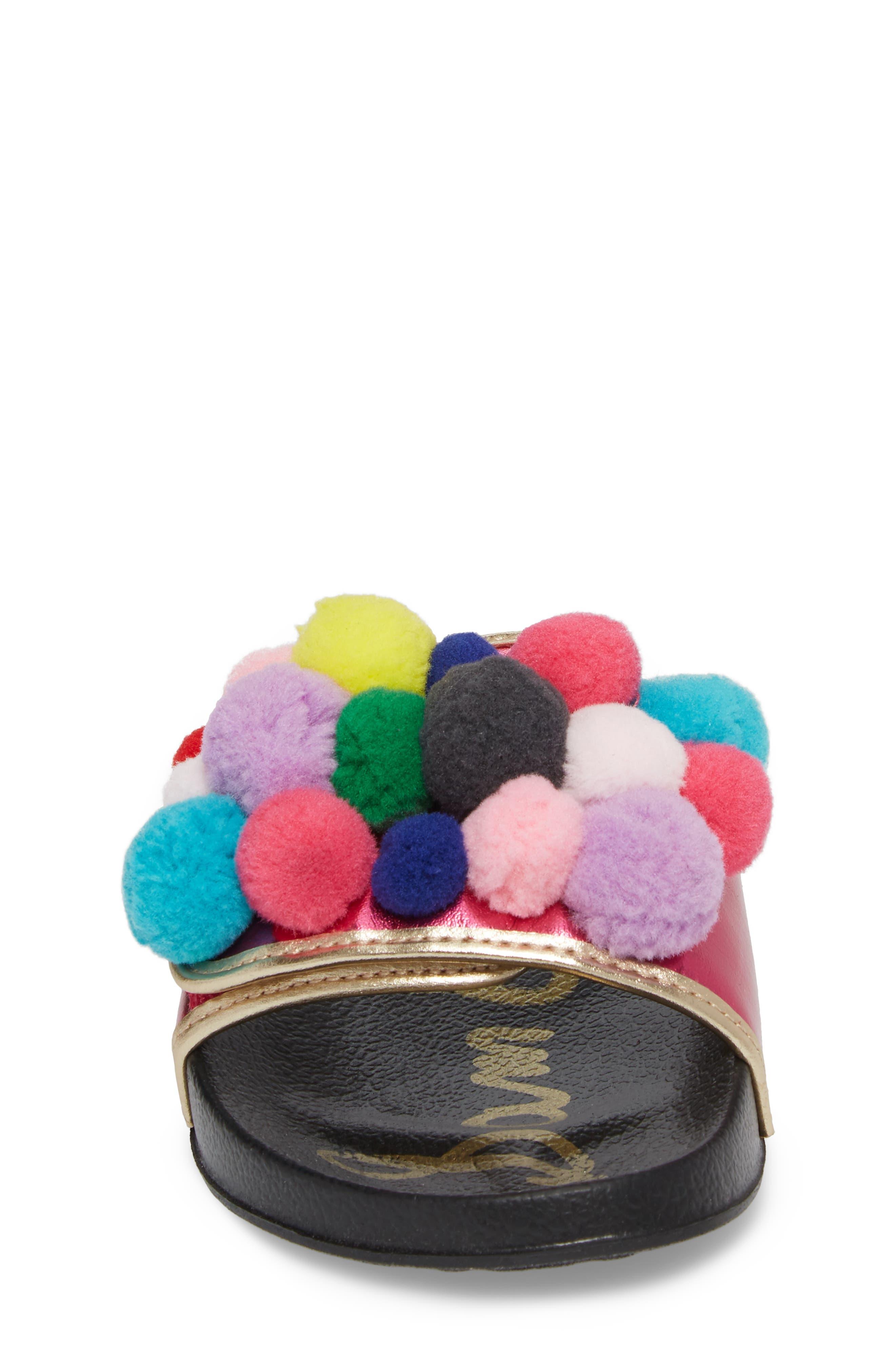 Faux Fur Mackie Cayman Sandal,                             Alternate thumbnail 4, color,                             Hot Pink Multi