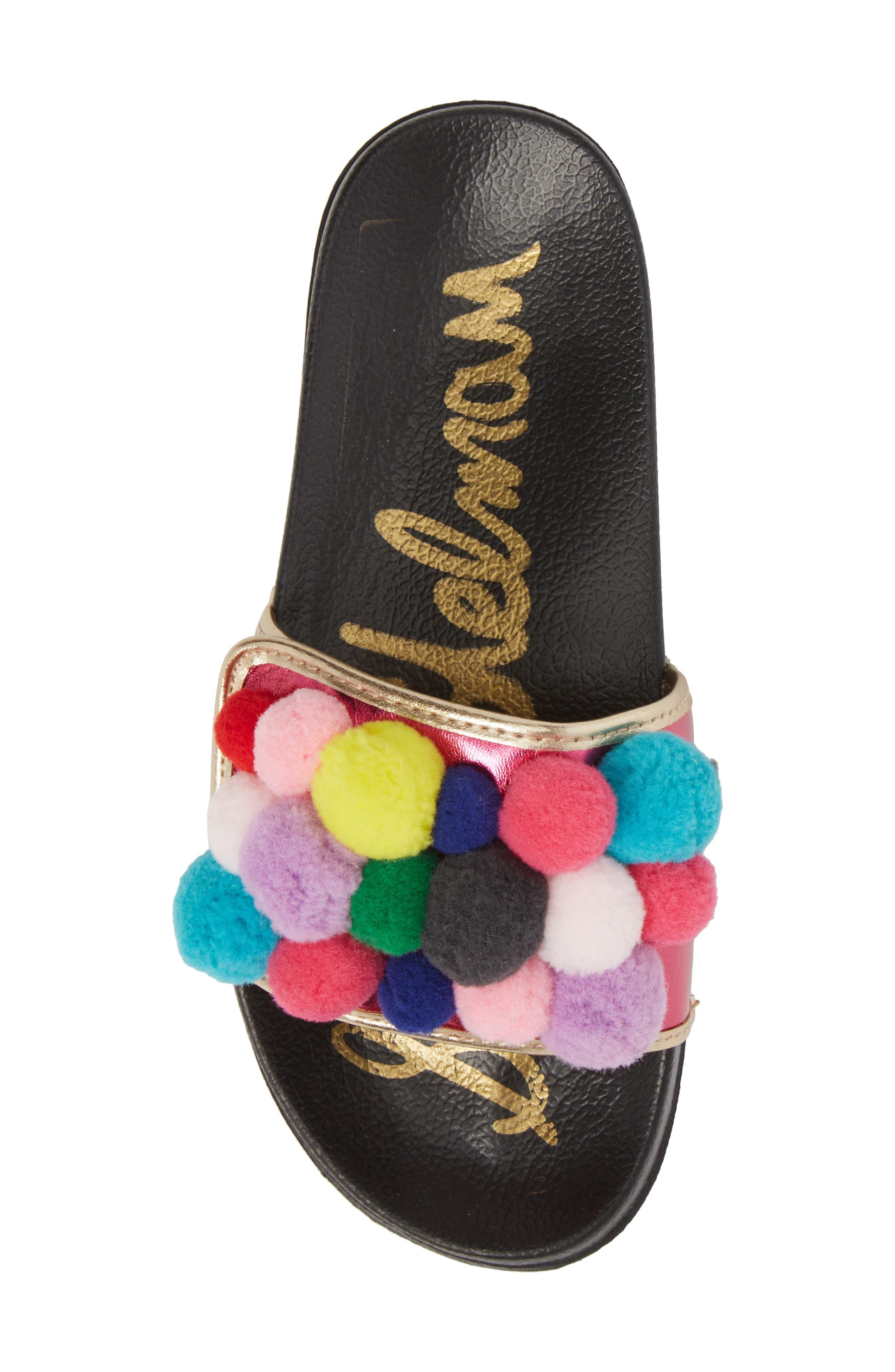Faux Fur Mackie Cayman Sandal,                             Alternate thumbnail 5, color,                             Hot Pink Multi