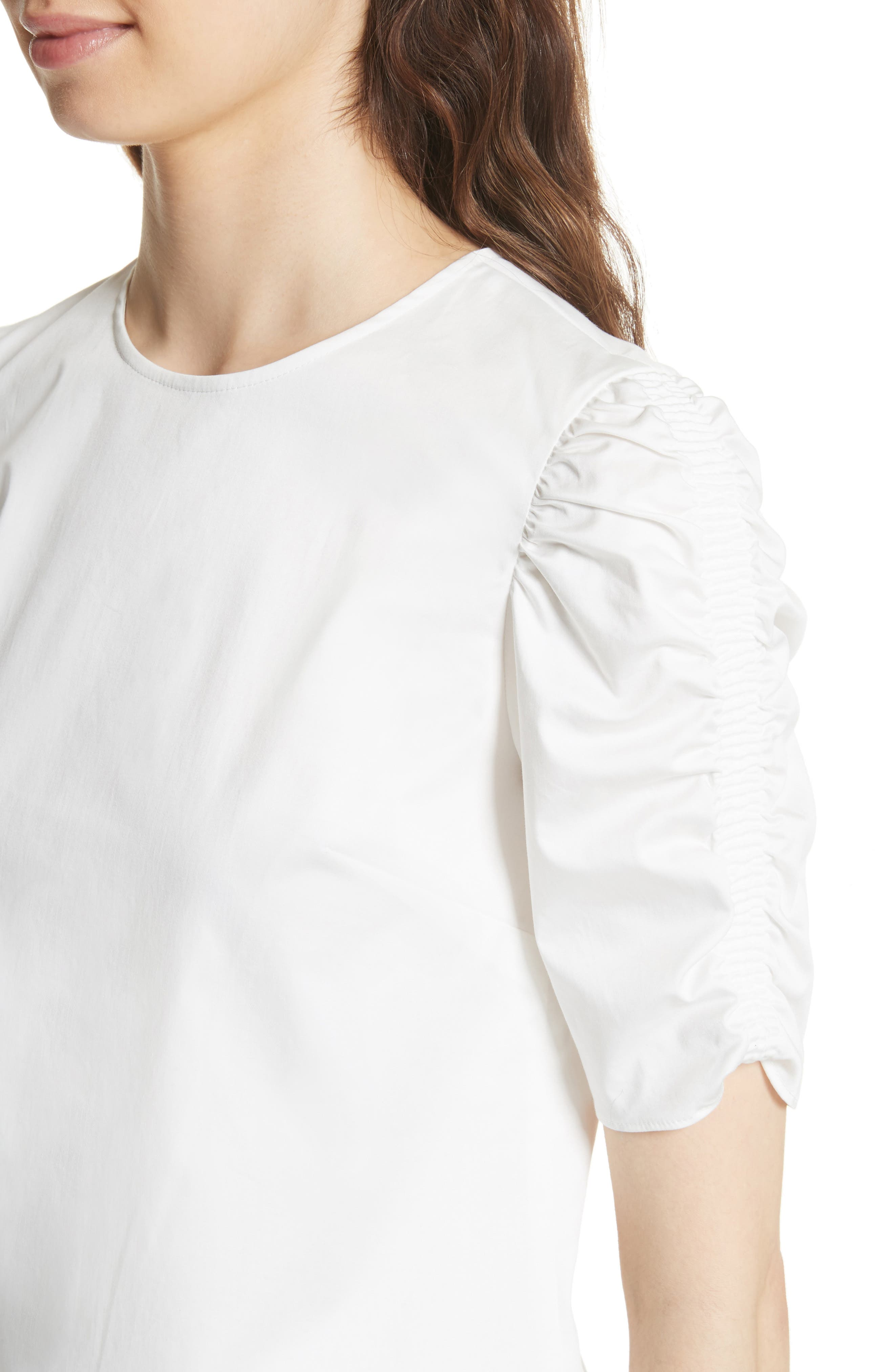 Ruched Sleeve Top,                             Alternate thumbnail 4, color,                             White