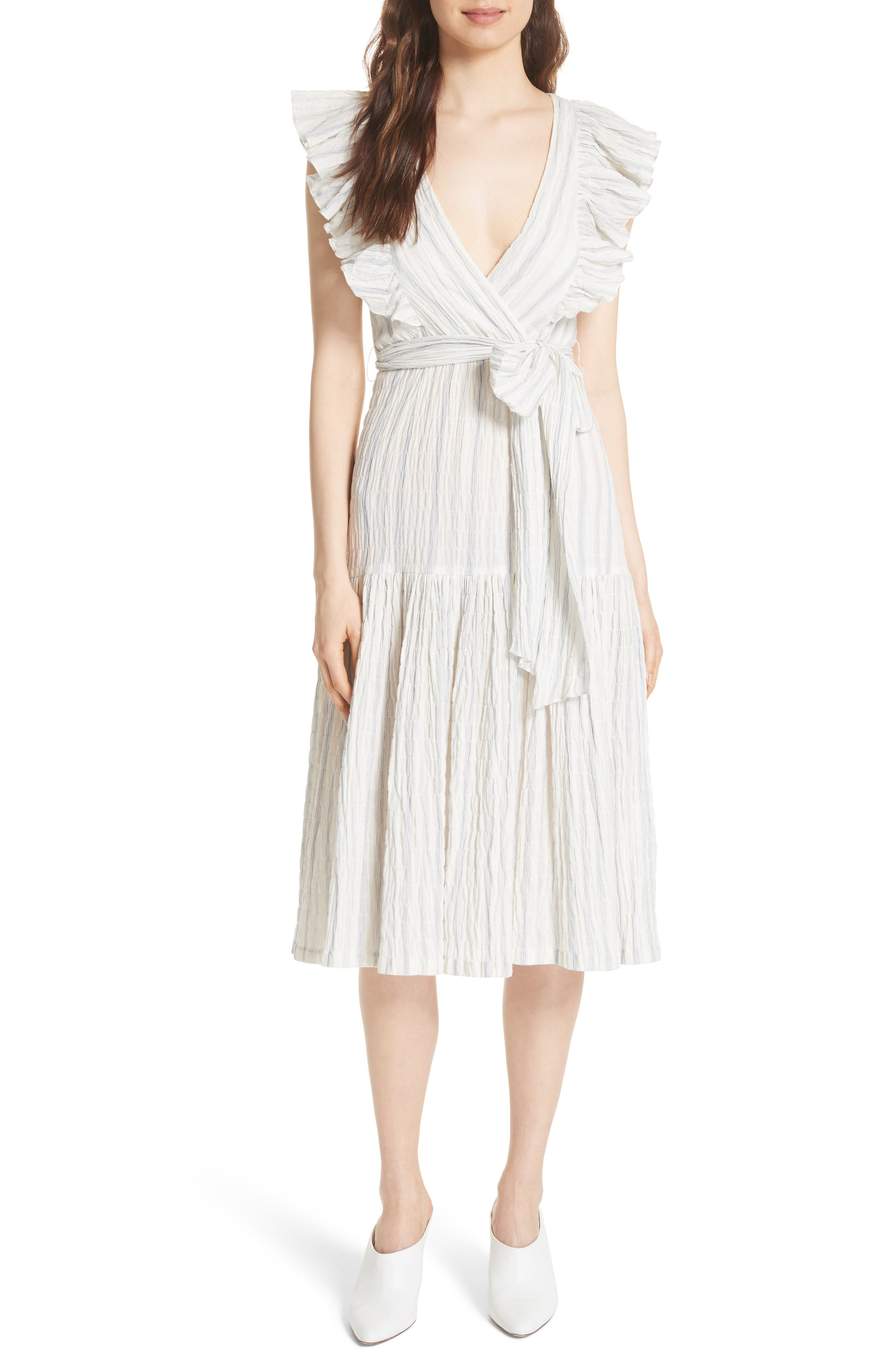 Alternate Image 1 Selected - Rebecca Taylor Stripe Midi Dress