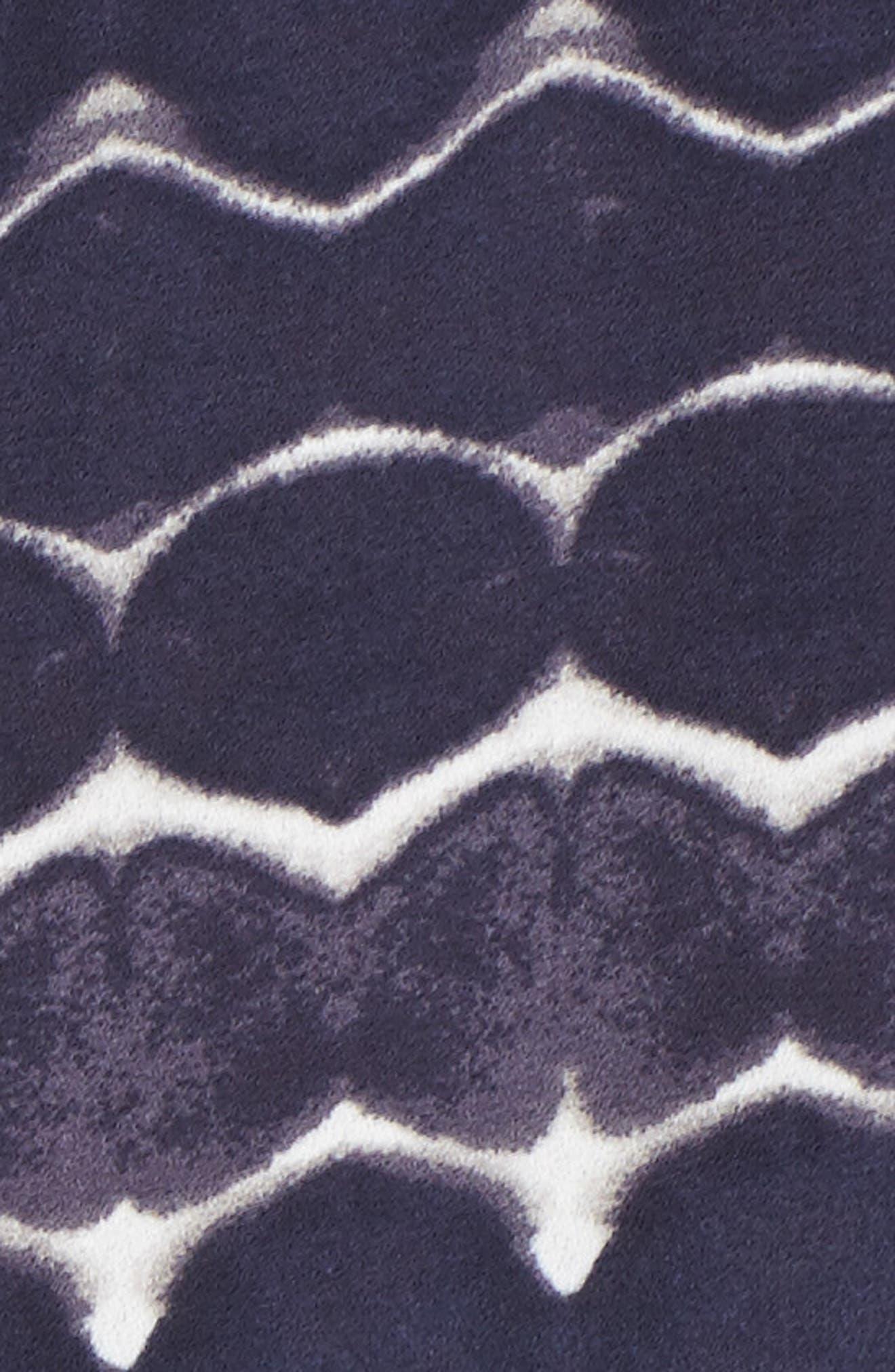 Drawstring Neck Crepe Top,                             Alternate thumbnail 5, color,                             Navy Peacoat Batik Spots