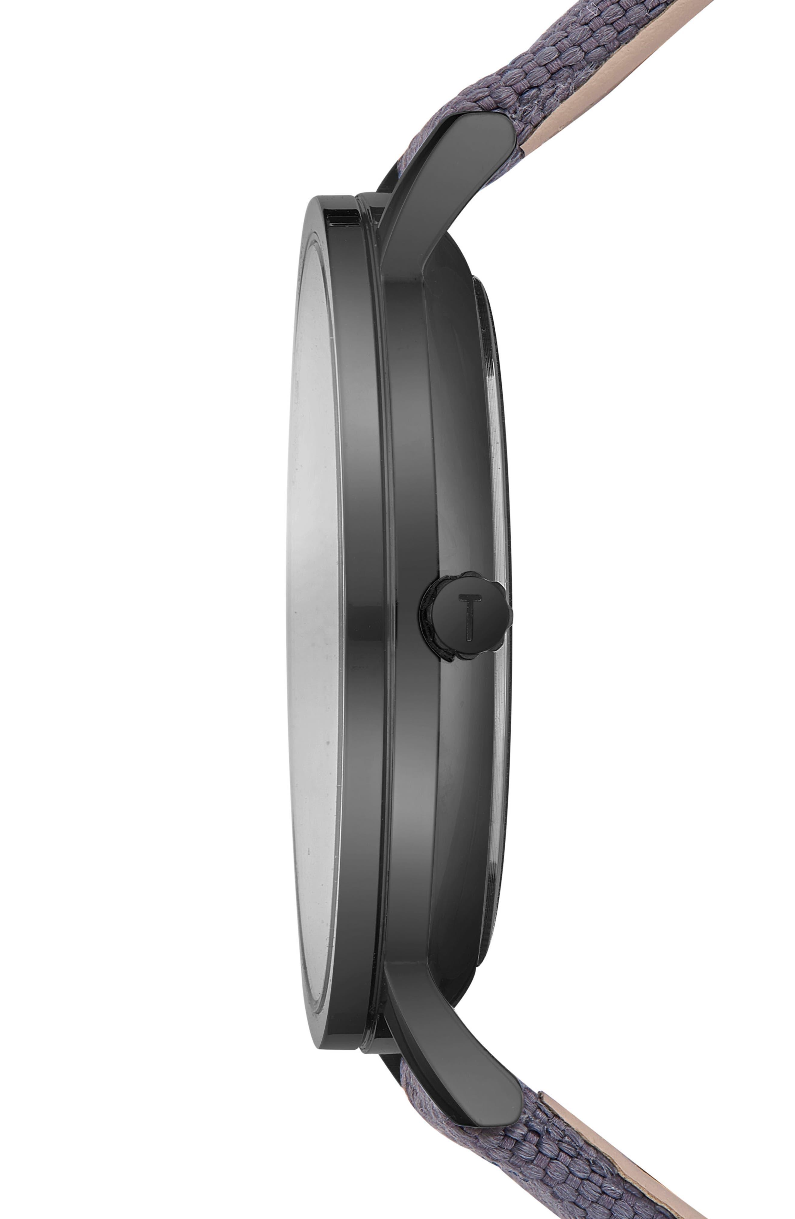 Brit Leather Strap Watch, 40mm,                             Alternate thumbnail 3, color,                             Dark Grey/ Dark Grey