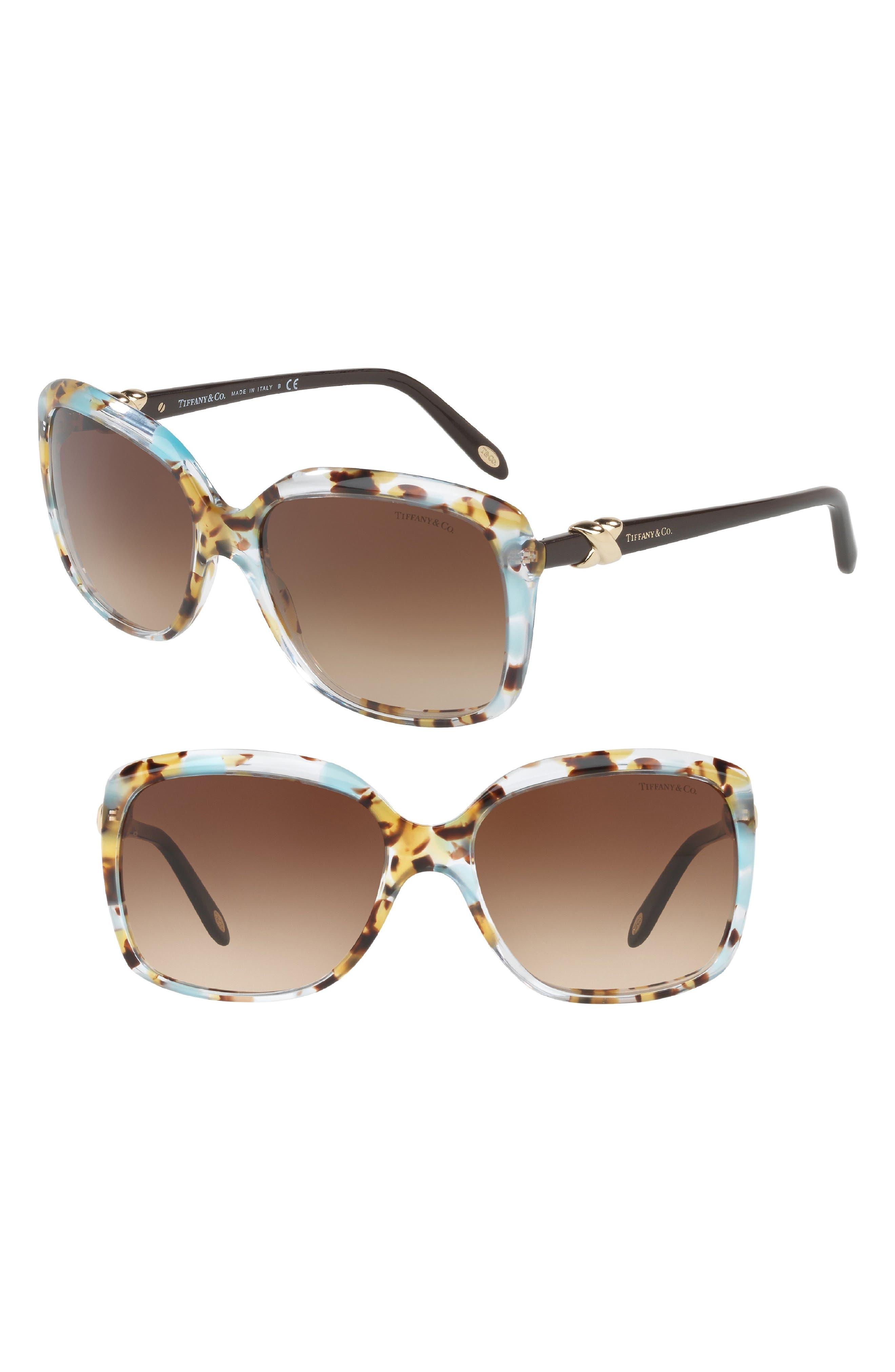 58mm Rectangular Sunglasses,                             Main thumbnail 1, color,                             Havana Blue Gradient