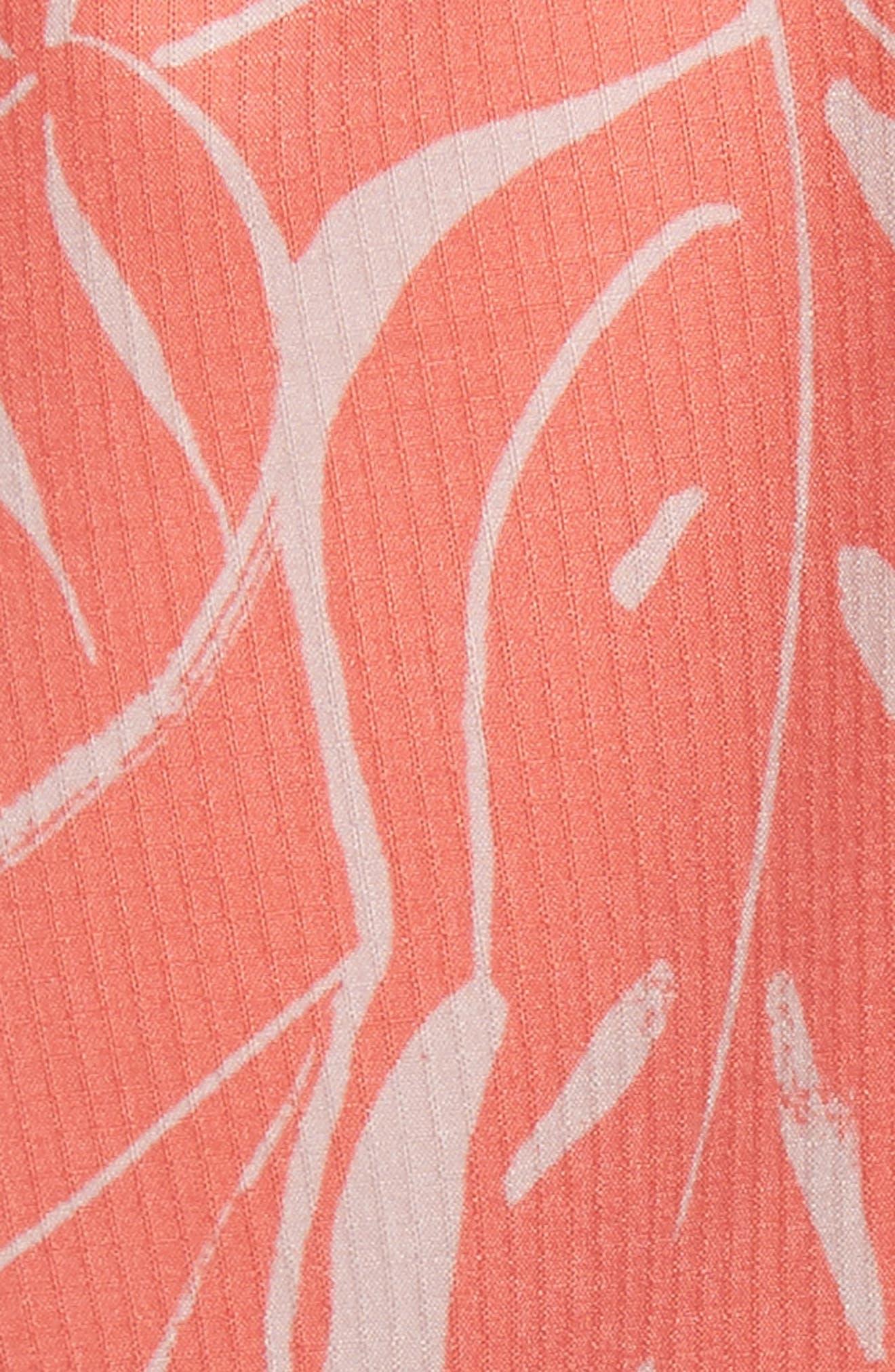 Charles Leaf Print Swim Trunks,                             Alternate thumbnail 5, color,                             Tangerine Coral