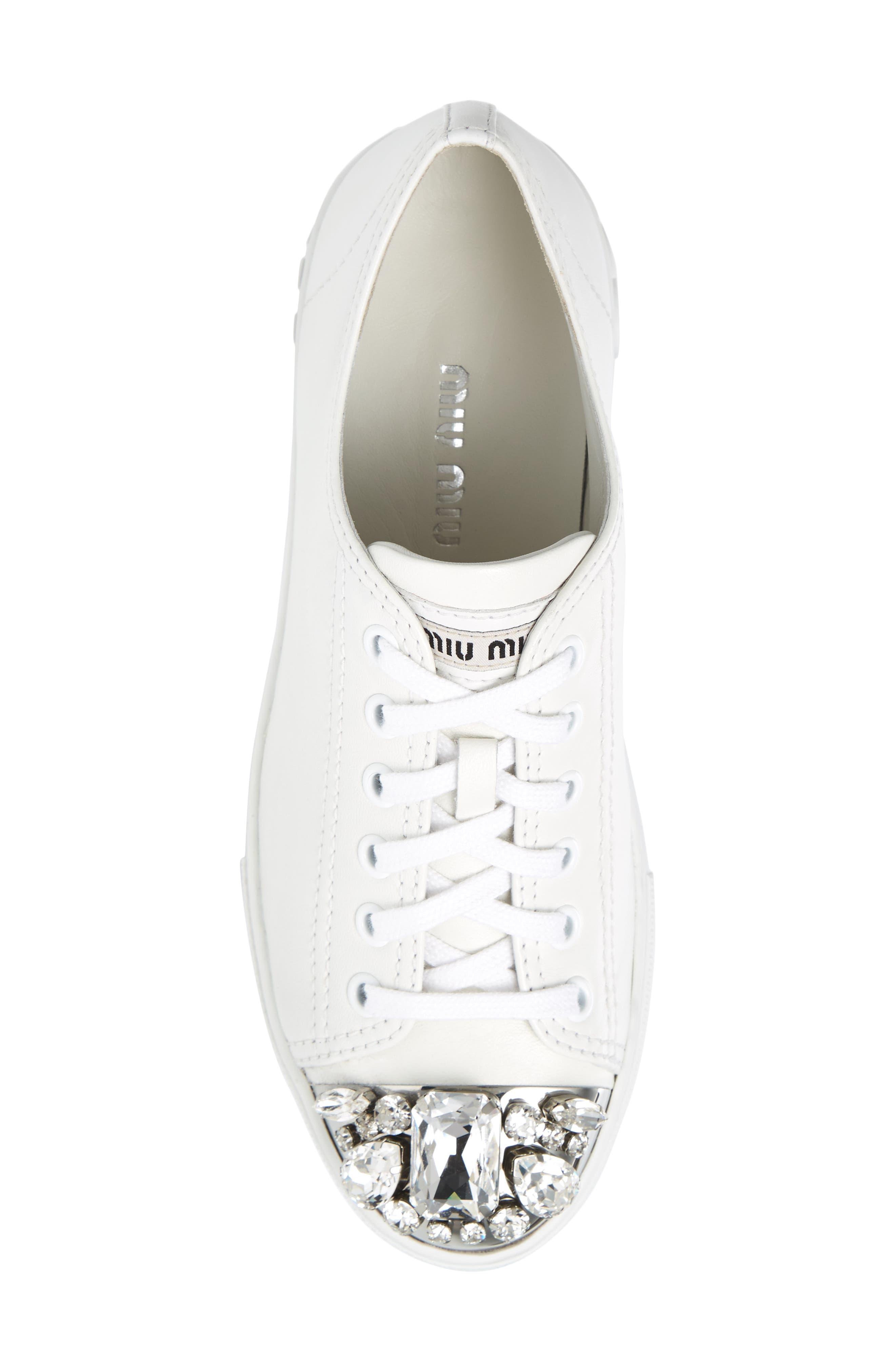 Crystal Cap Toe Sneaker,                             Alternate thumbnail 5, color,                             White