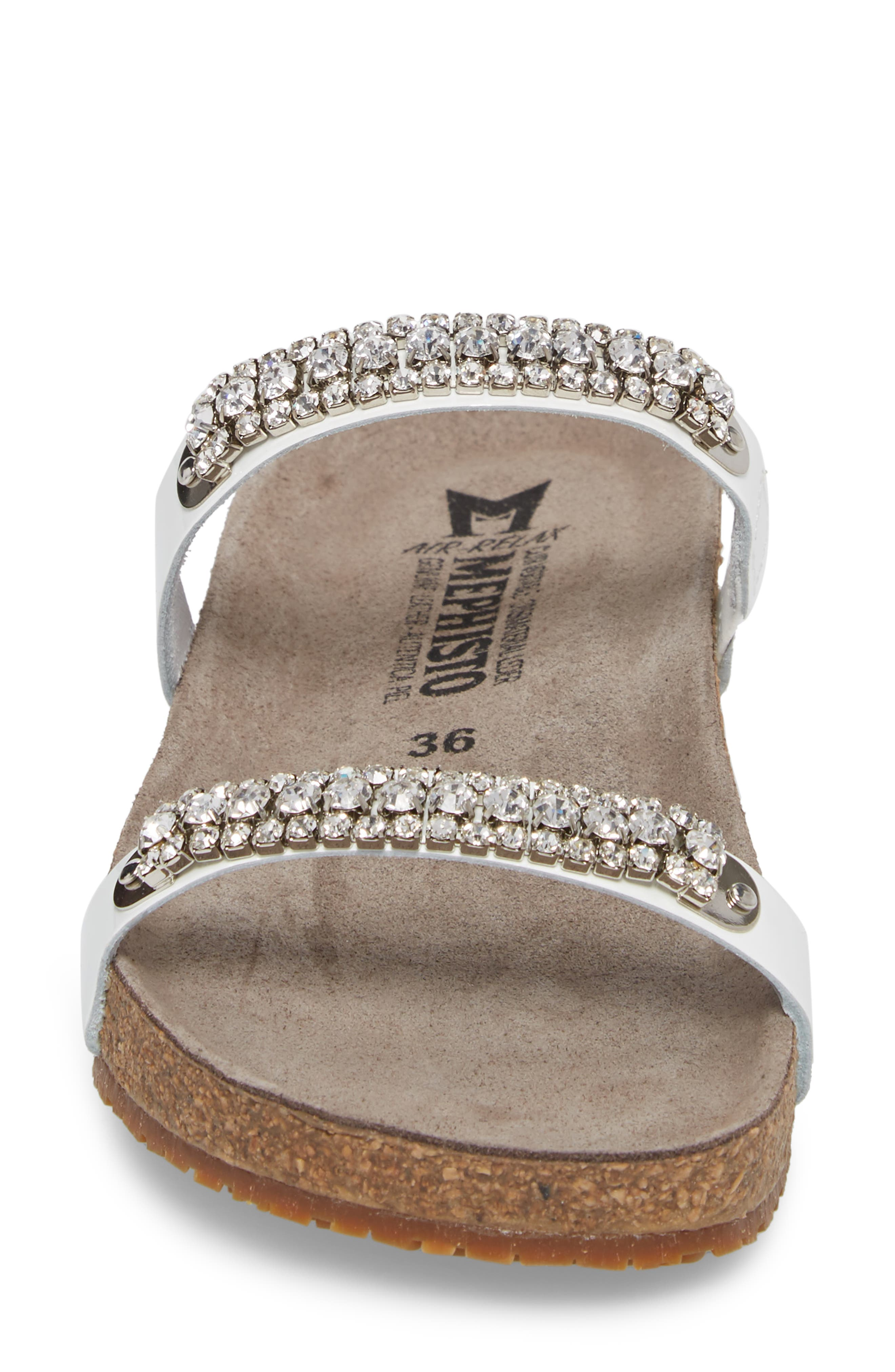 'Ivana' Crystal Embellished Slide Sandal,                             Alternate thumbnail 4, color,                             White Patent