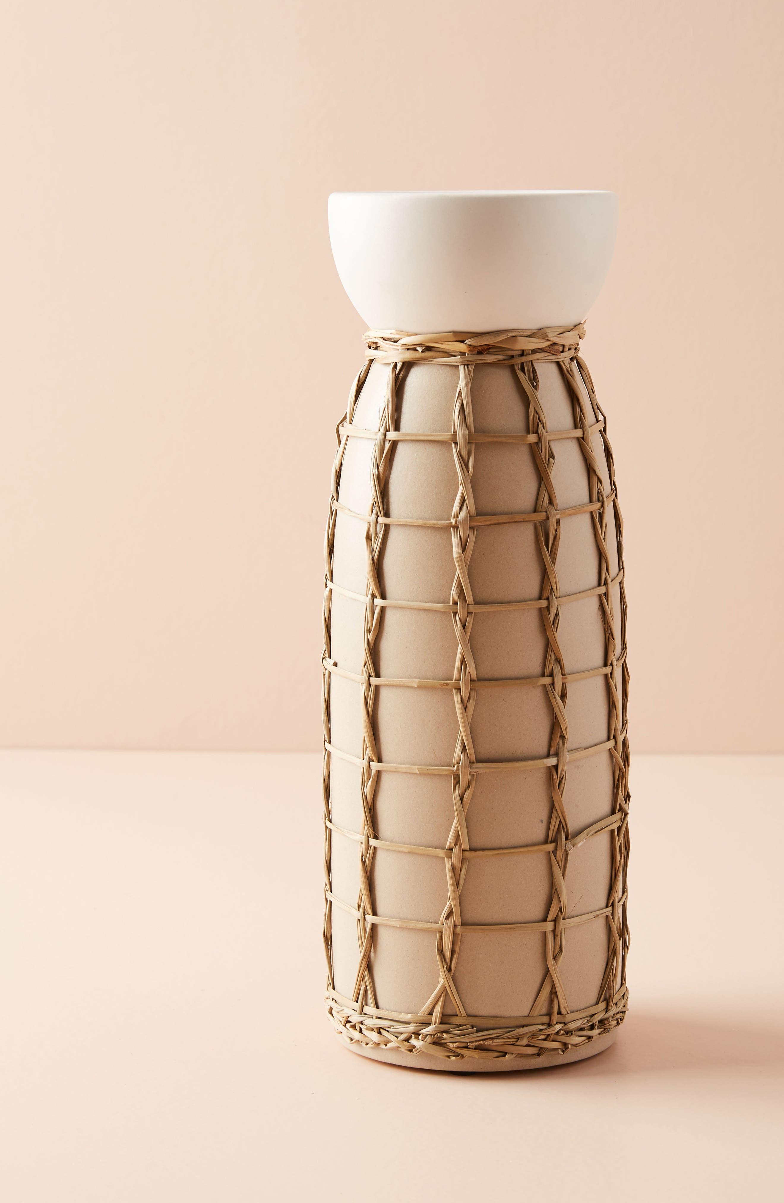 Wicker Pillar Candleholder,                         Main,                         color, Cream - Large