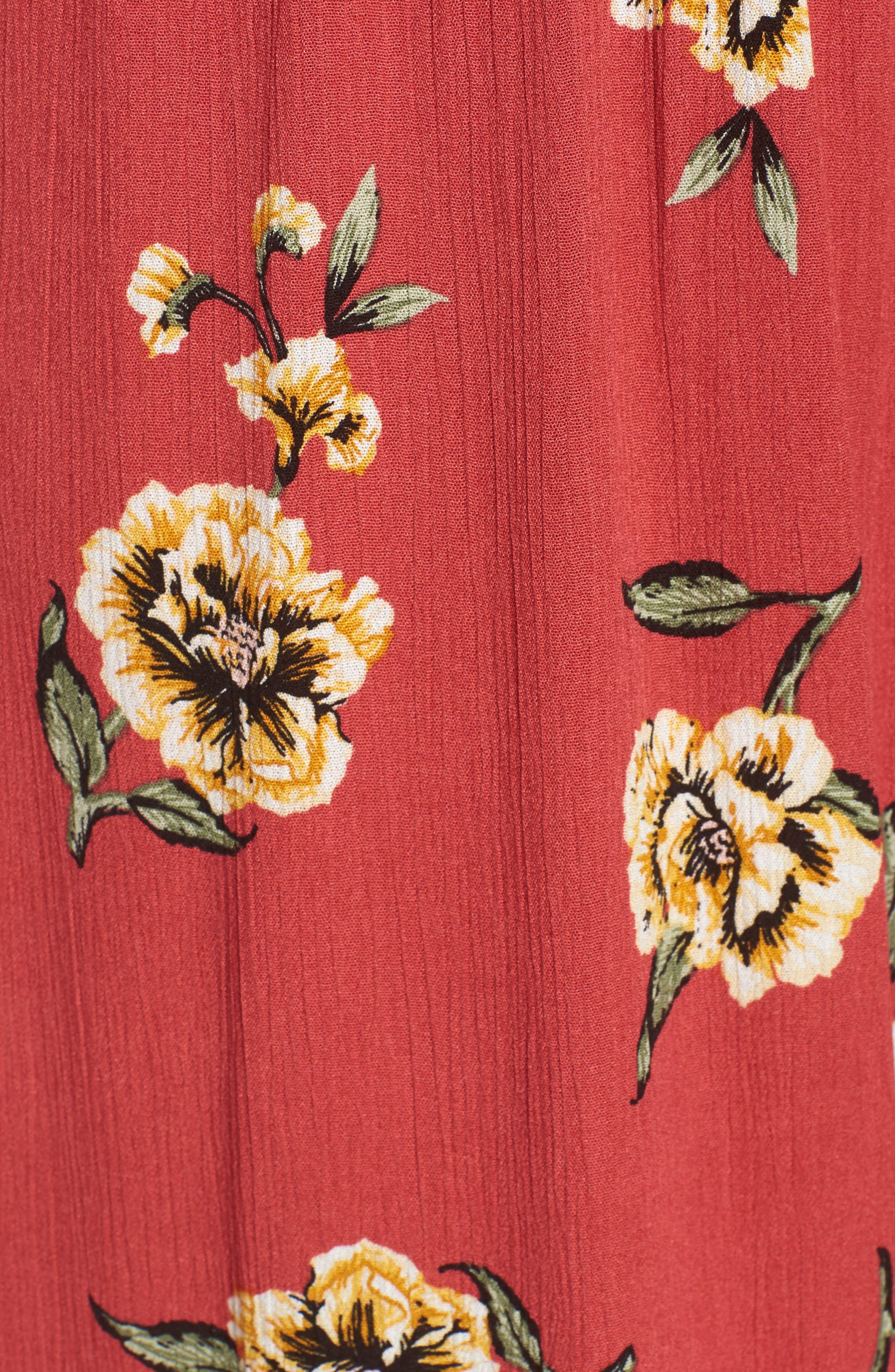 Tie Front Cutout Jumpsuit,                             Alternate thumbnail 5, color,                             Sienna