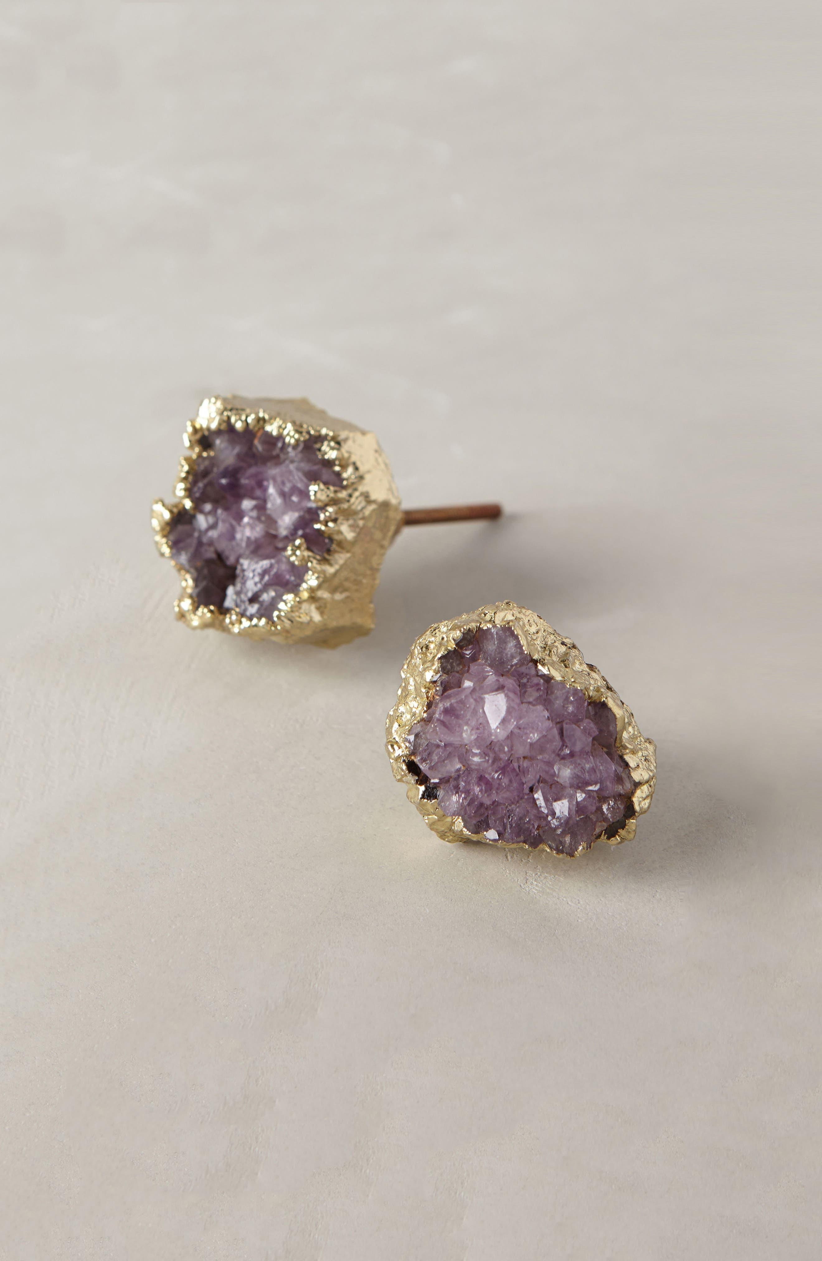 Crowned Quartz Knob,                             Main thumbnail 1, color,                             Purple