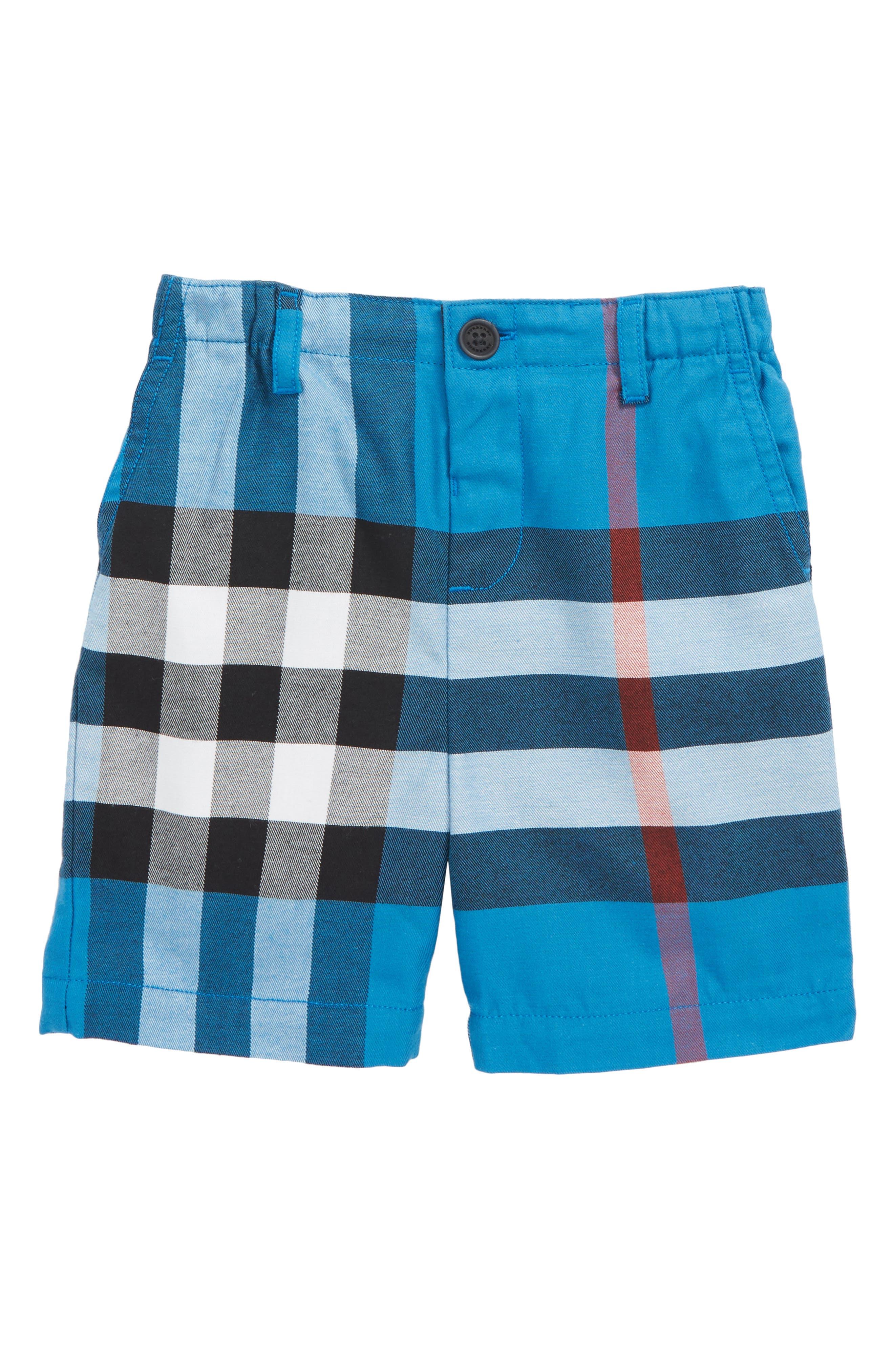 Sean Check Print Shorts,                         Main,                         color, Azure Blue