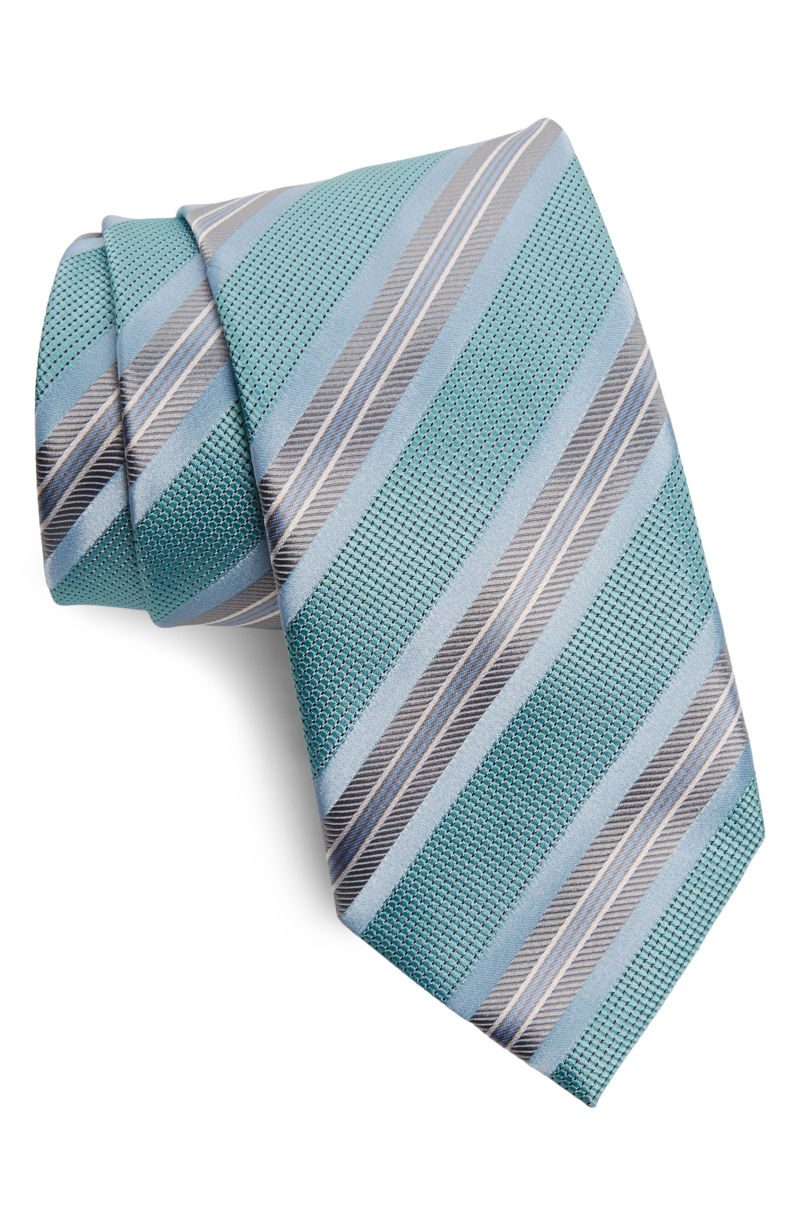 Stripe Silk Tie,                             Main thumbnail 1, color,                             Blue Marble
