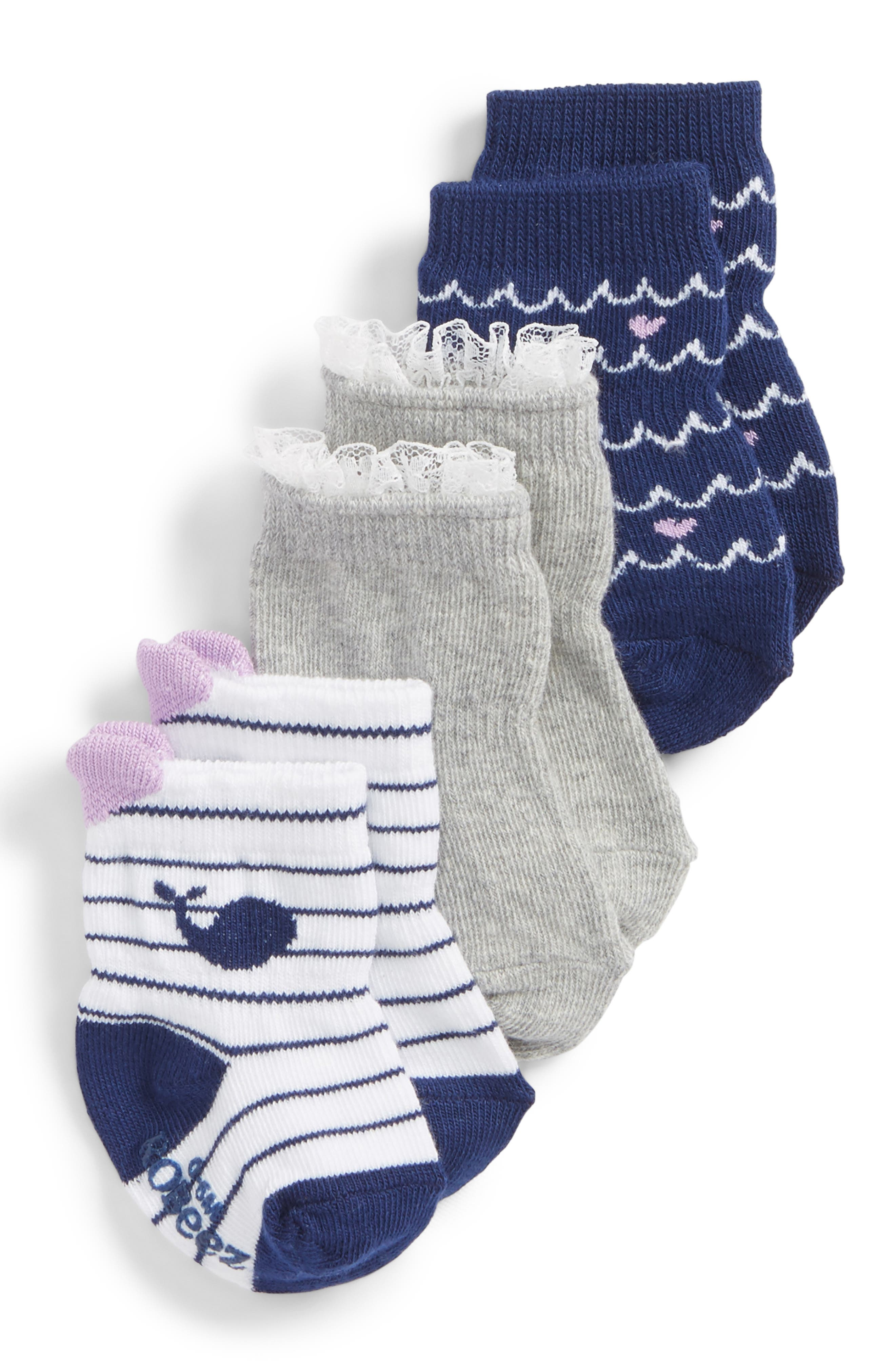 Whales 3-Pack Socks,                         Main,                         color, Navy/ White/ Grey