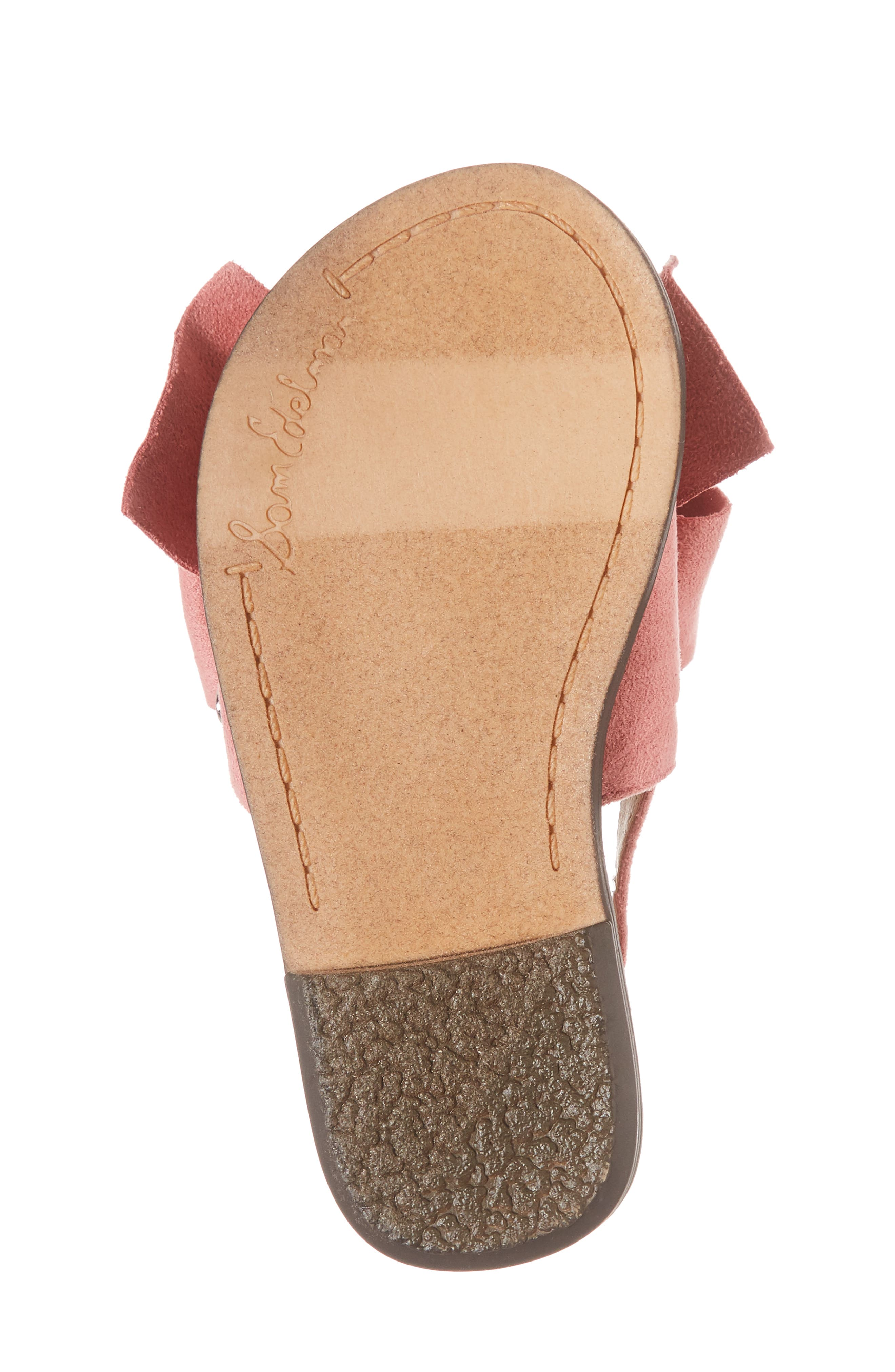 Gigi Bow Sandal,                             Alternate thumbnail 6, color,                             Pink Faux Suede