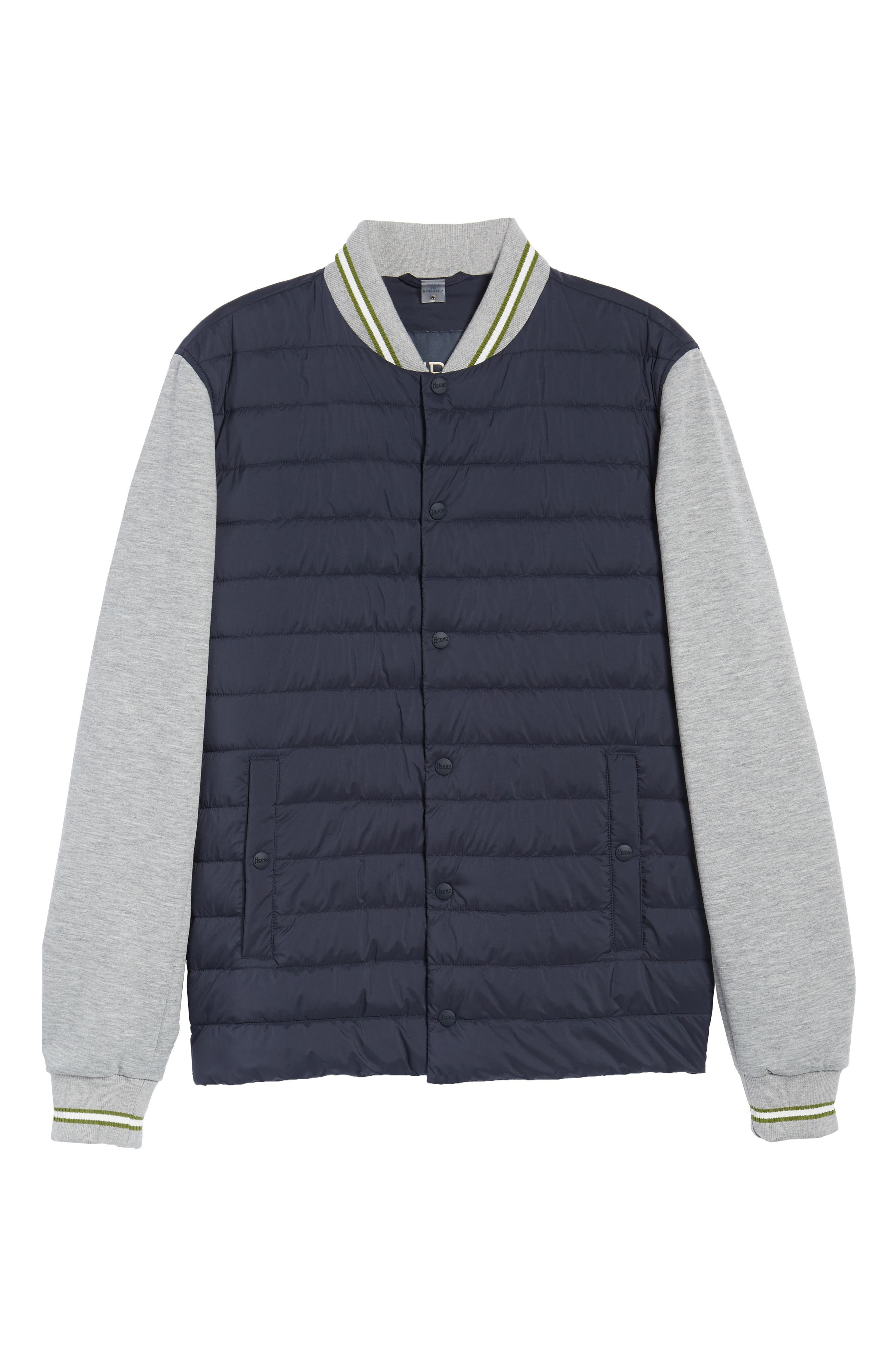 Quilted Baseball Jacket,                             Alternate thumbnail 6, color,                             Navy