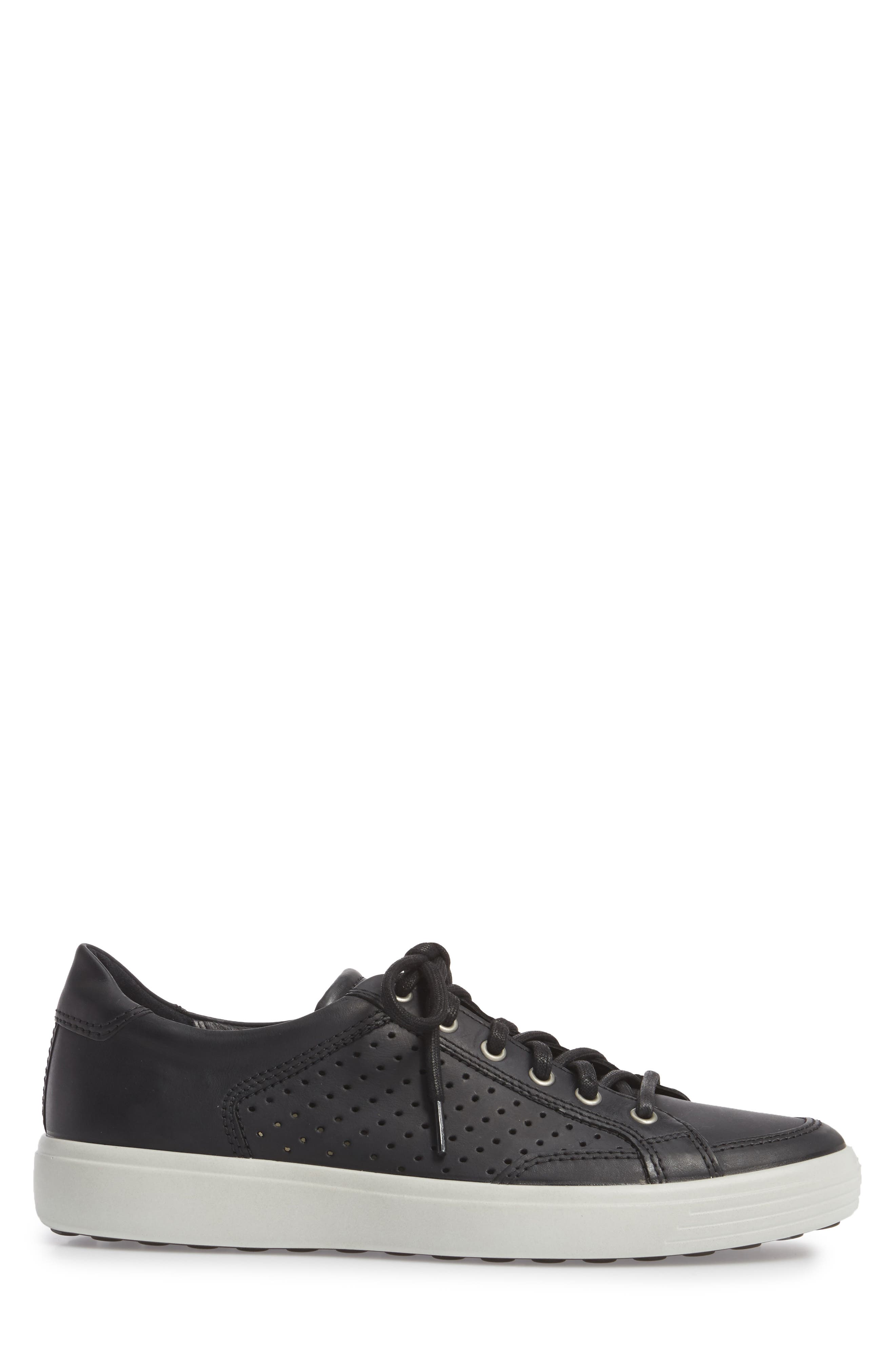 Soft 7 Retro Perforated Low Top Sneaker,                             Alternate thumbnail 3, color,                             Black Leather
