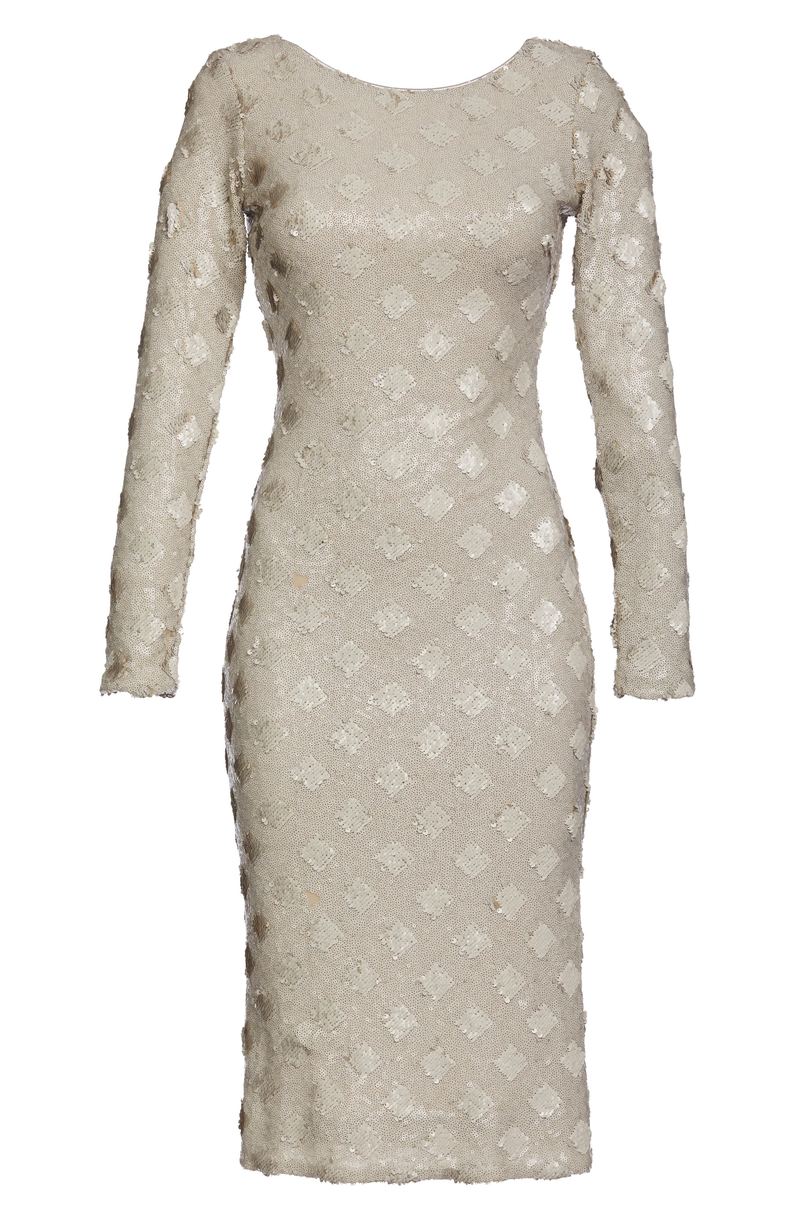 Emery Sequin Sheath Dress,                             Alternate thumbnail 5, color,                             Bone