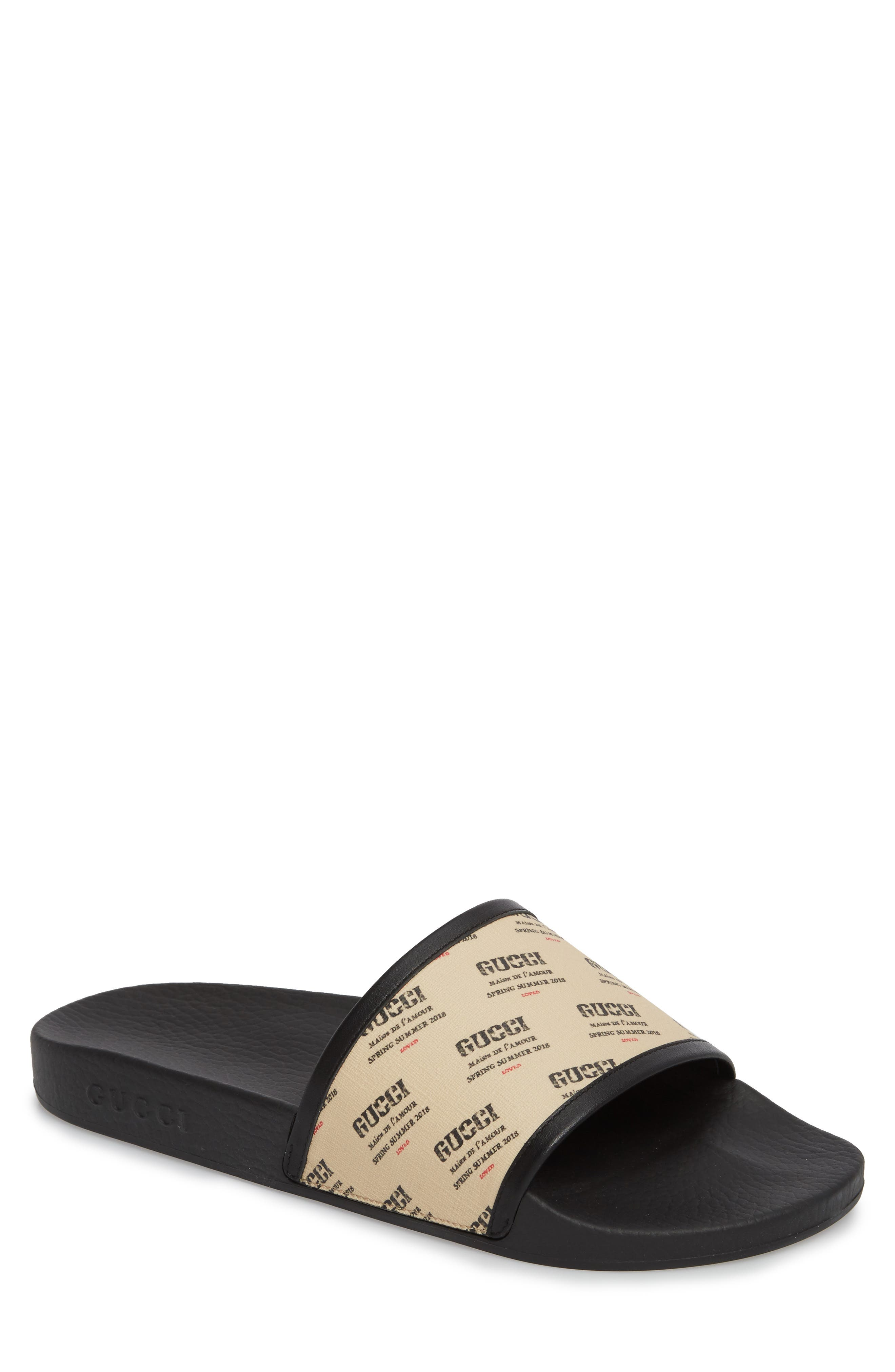Invite Slide Sandal,                         Main,                         color, Black Patino