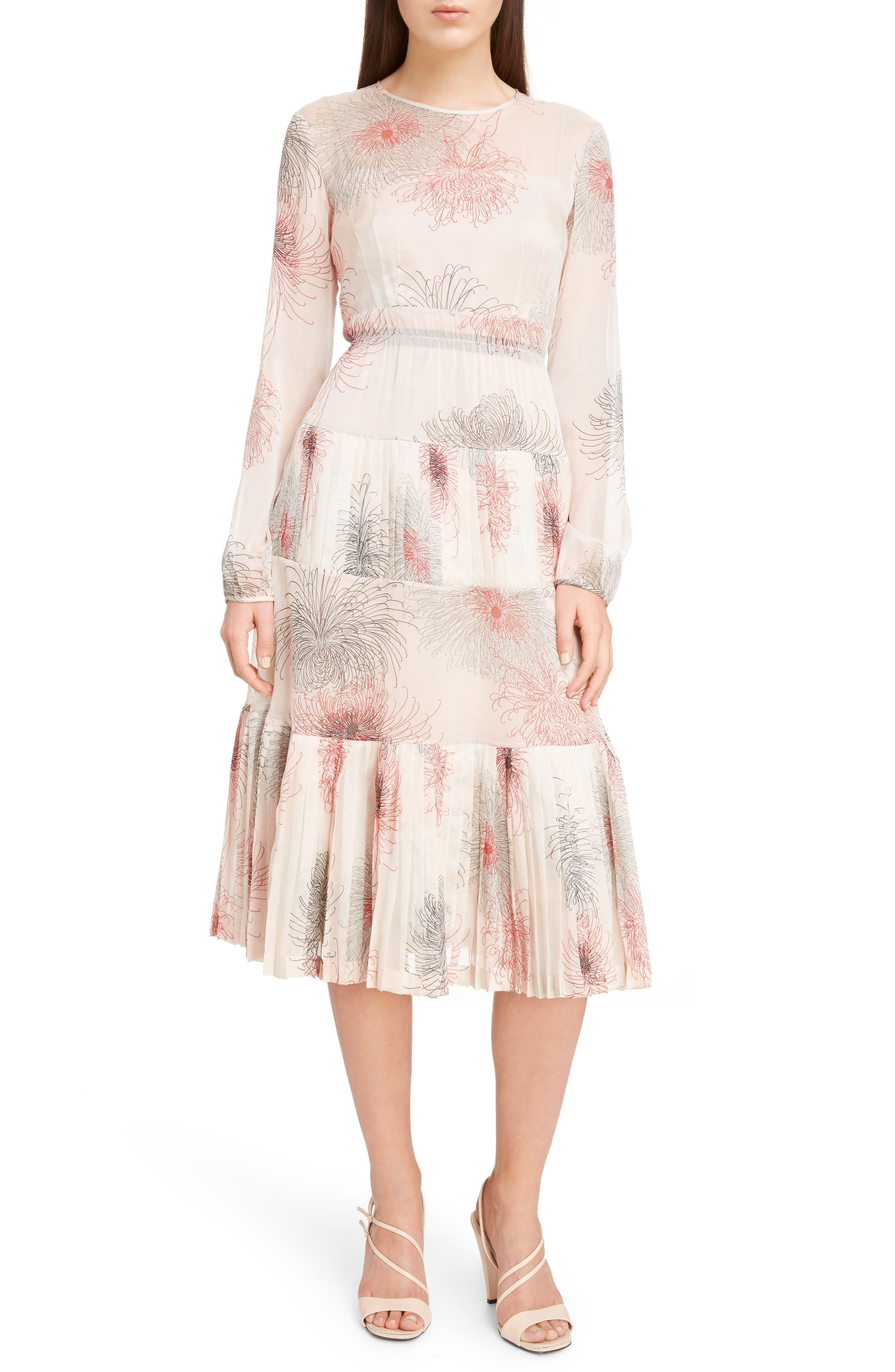 Nº21 Floral Print Tiered Silk Dress,                         Main,                         color, Pink