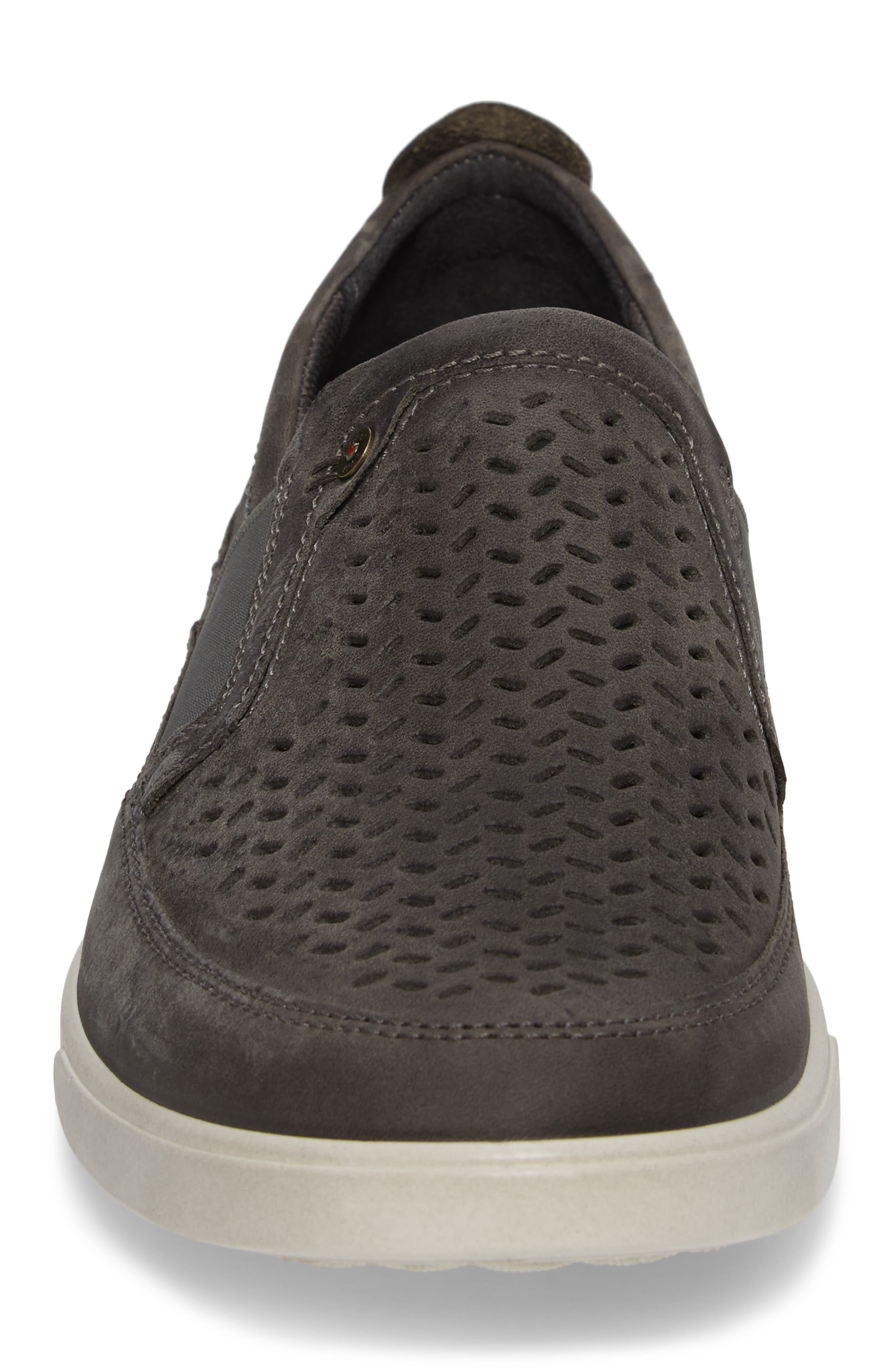 'Collin' Perforated Slip On Sneaker,                             Alternate thumbnail 4, color,                             Titanium Leather