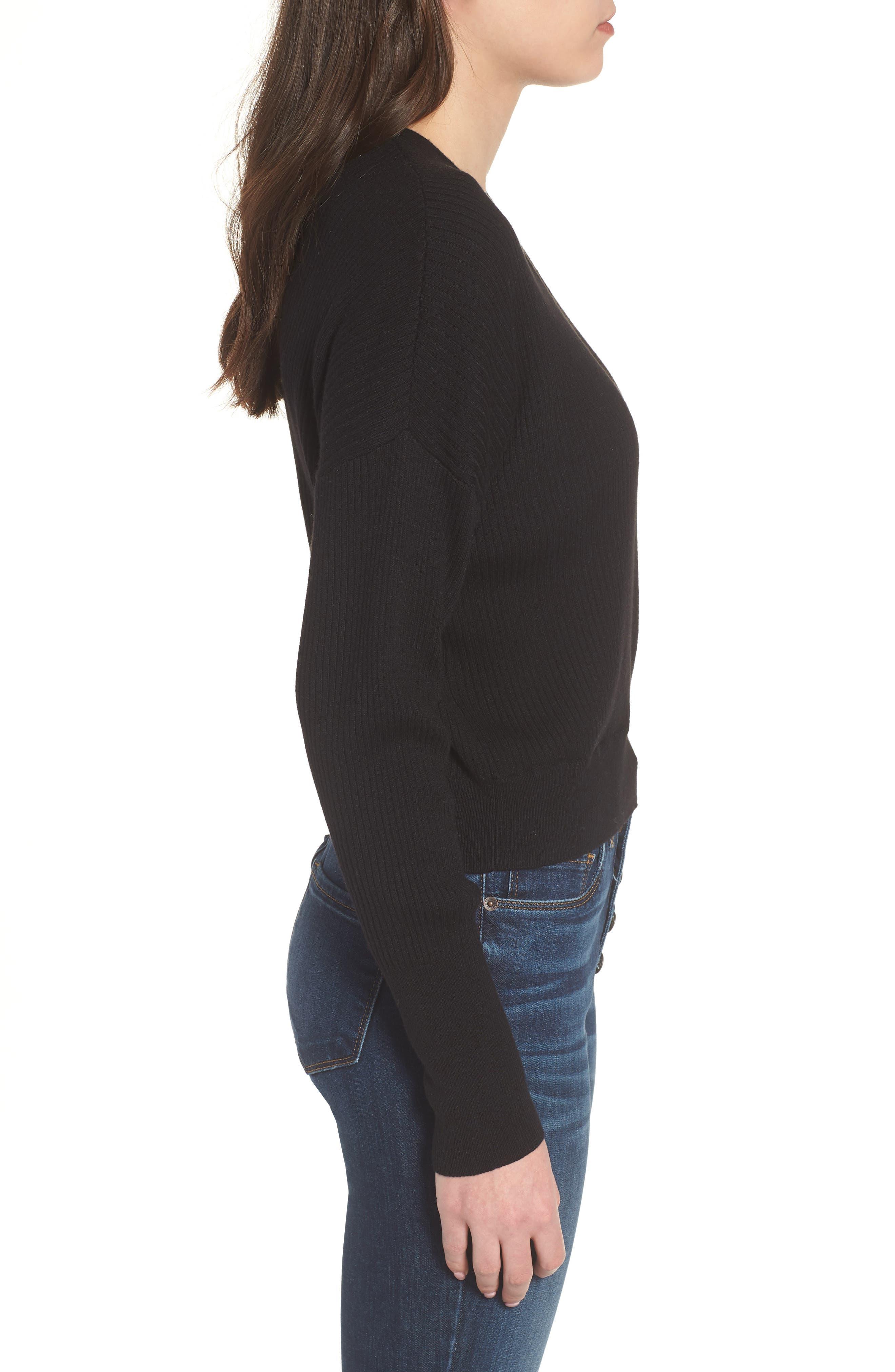 Rib Wrap Sweater,                             Alternate thumbnail 3, color,                             Black