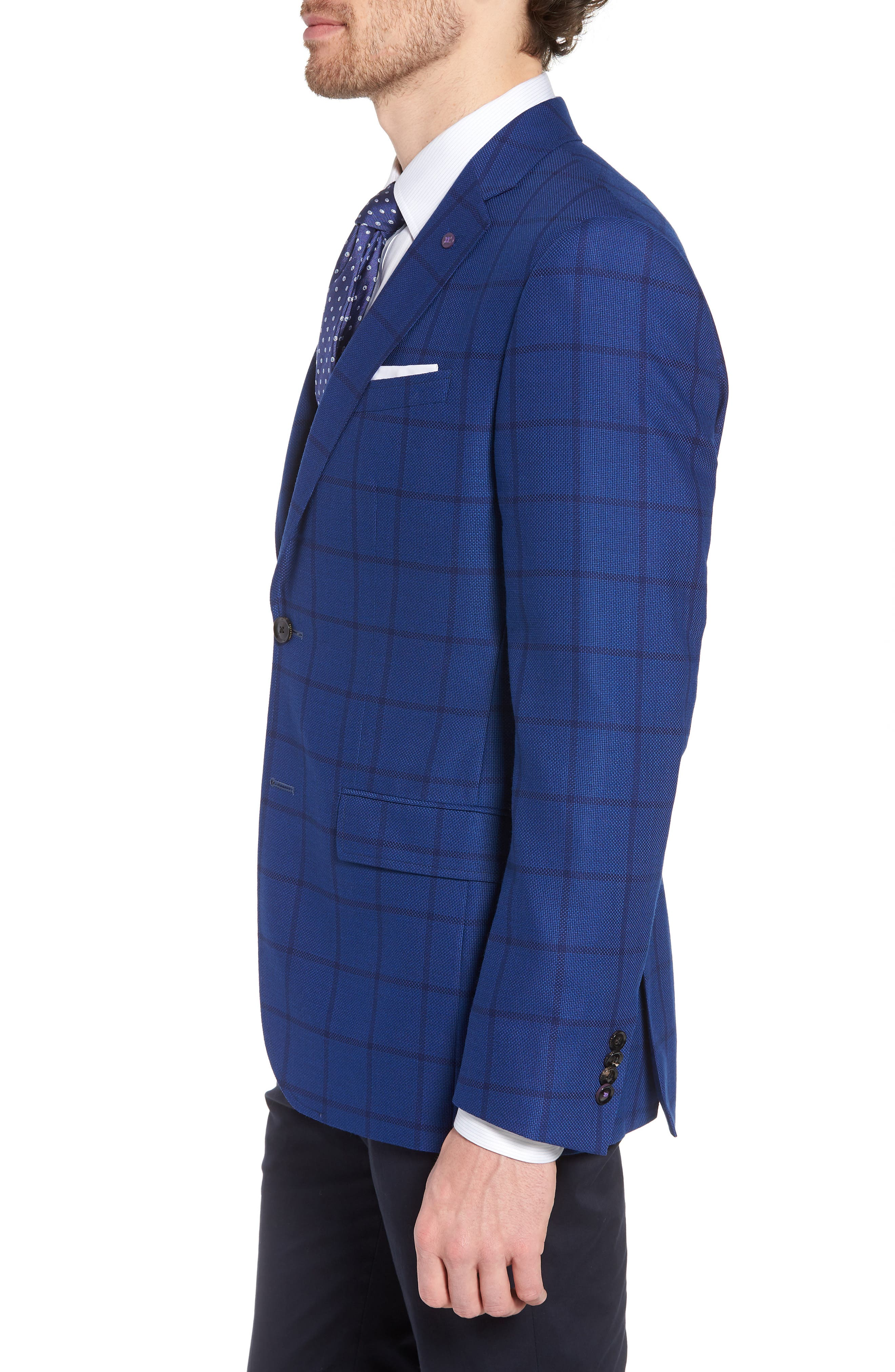 Jay Trim Fit Windowpane Wool Sport Coat,                             Alternate thumbnail 3, color,                             Blue