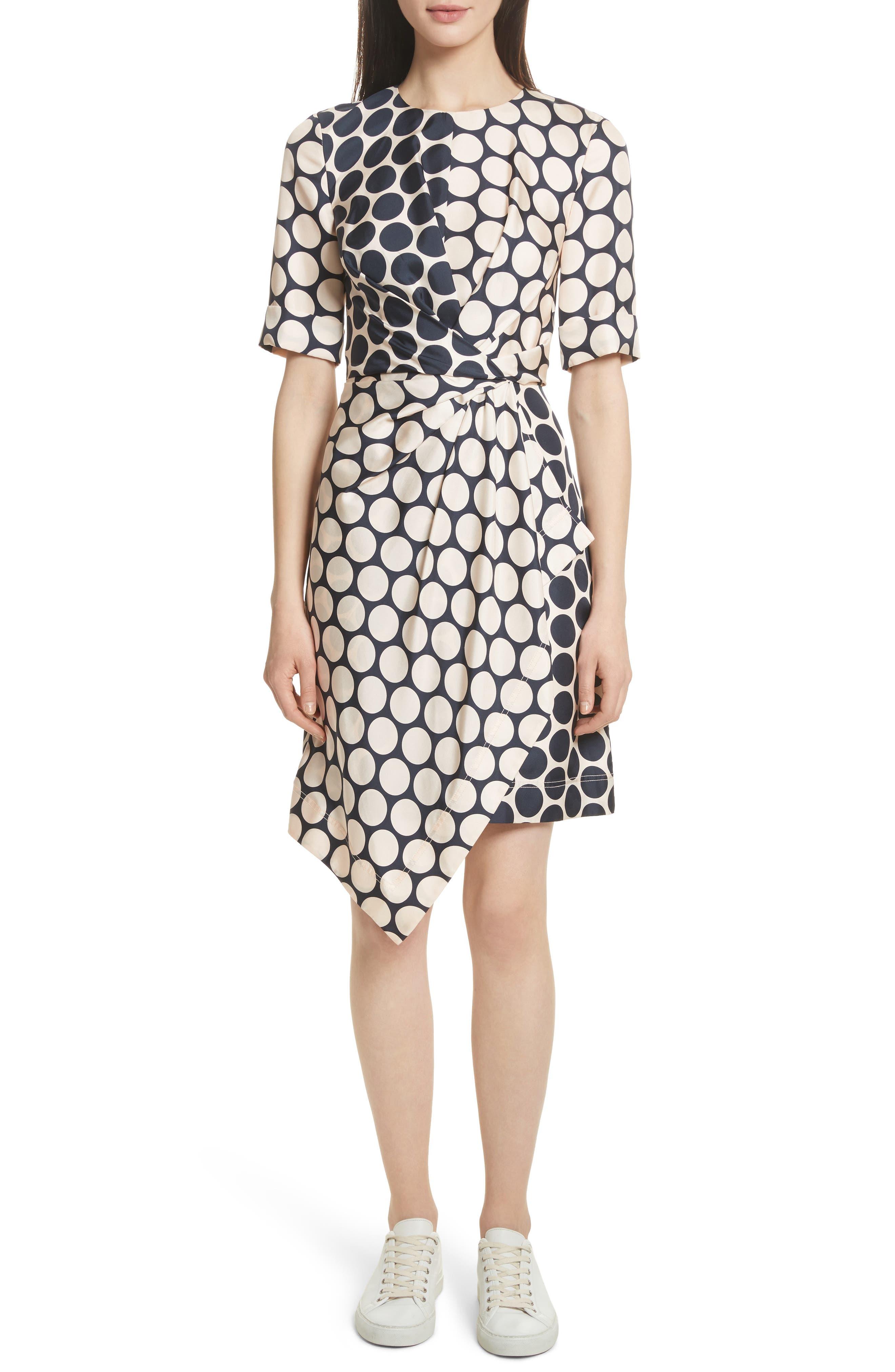 Polka Dot Silk Dress,                             Main thumbnail 1, color,                             Shell Combo