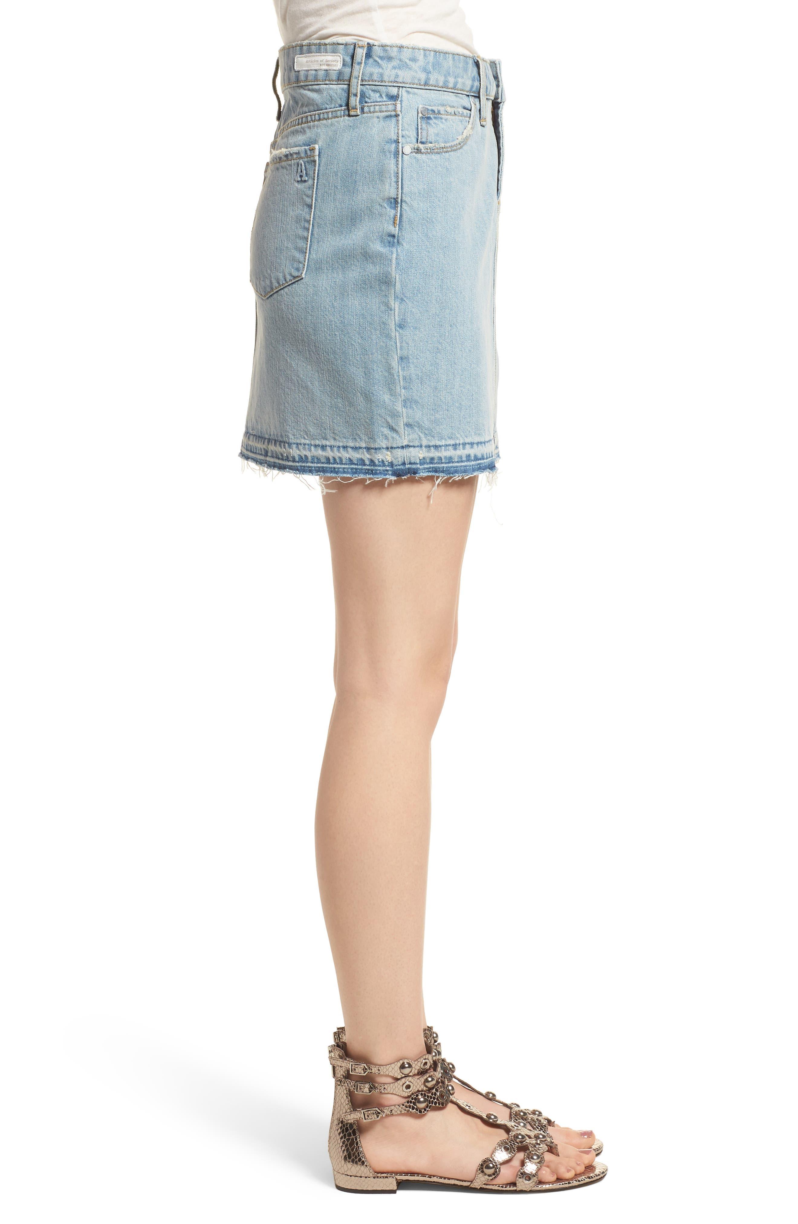 Stacy Release Hem Denim Skirt,                             Alternate thumbnail 3, color,                             Reims