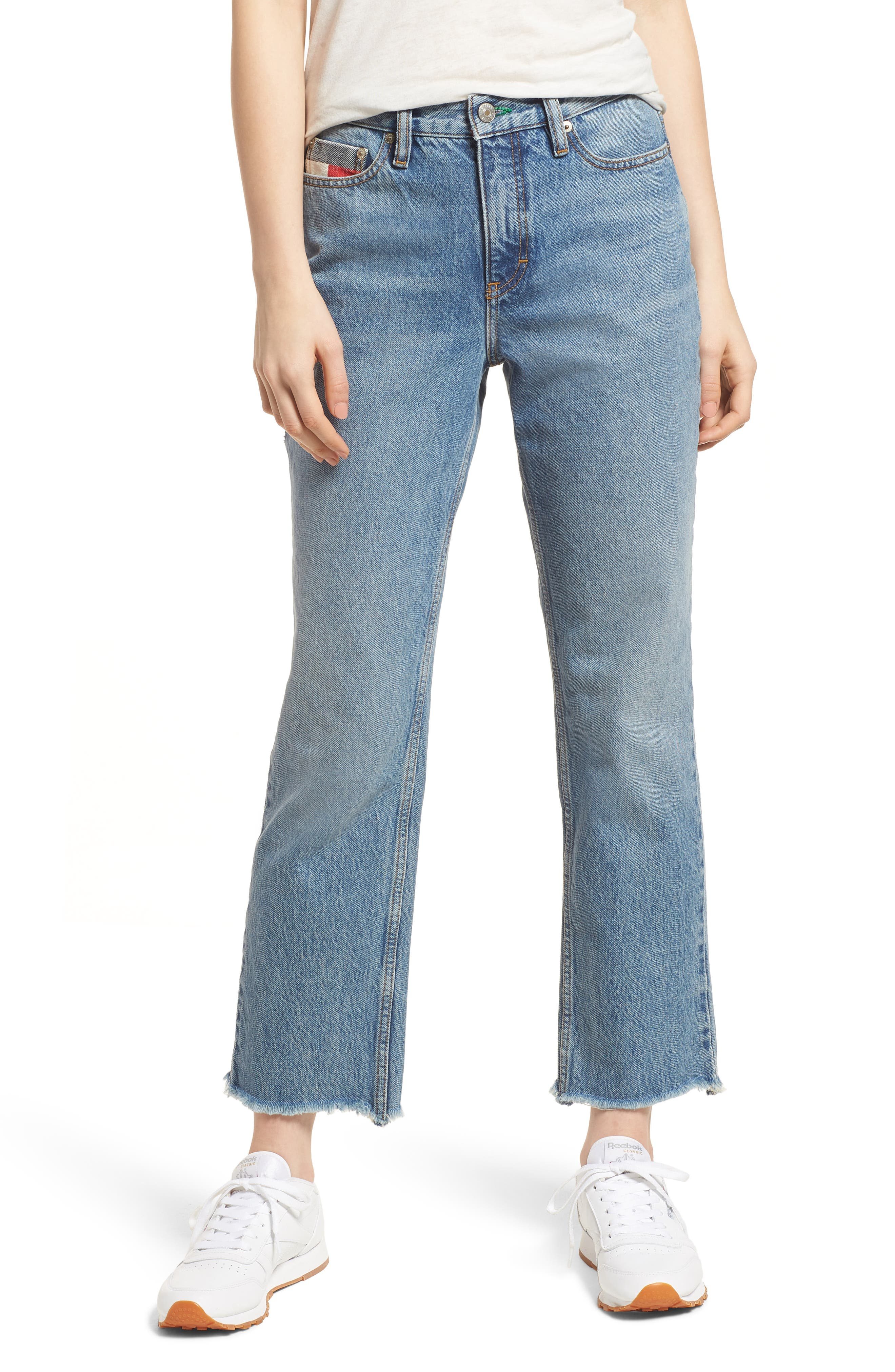 TJW 90s Mom Jeans,                             Main thumbnail 1, color,                             Mid Blue Denim