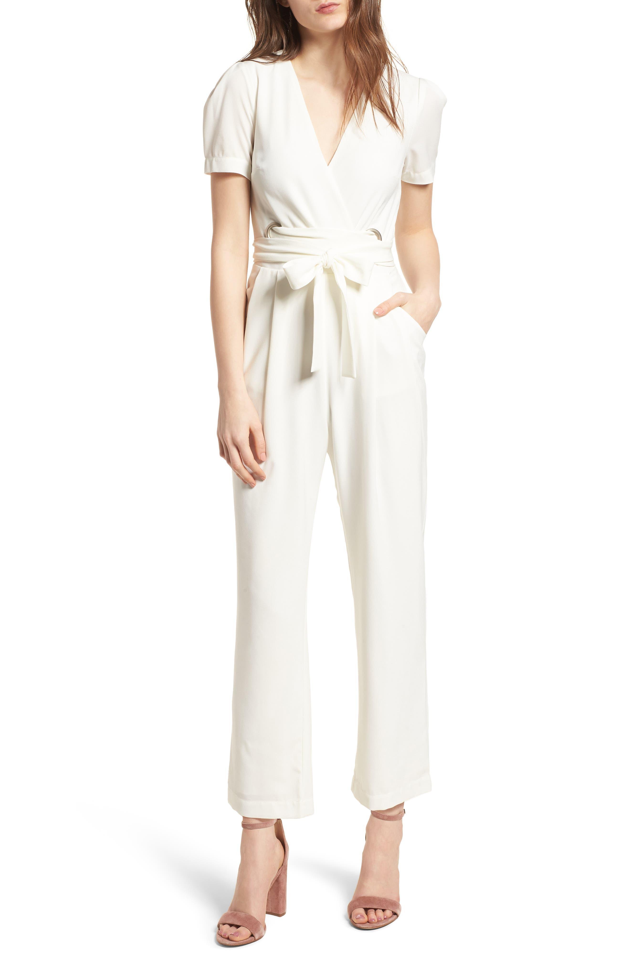 Surplice Jumpsuit,                         Main,                         color, White