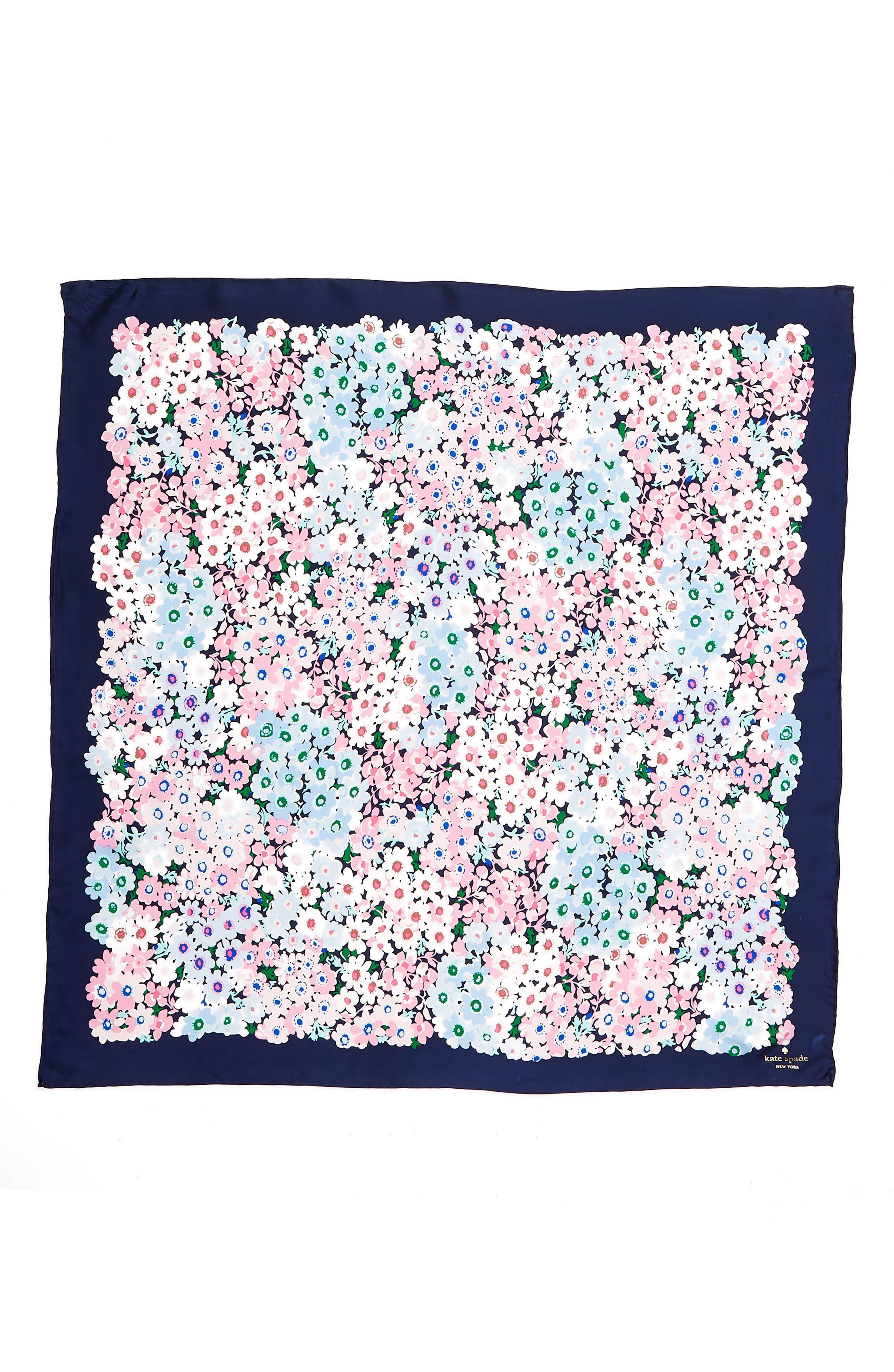 daisy garden square silk scarf,                             Alternate thumbnail 3, color,                             Navy