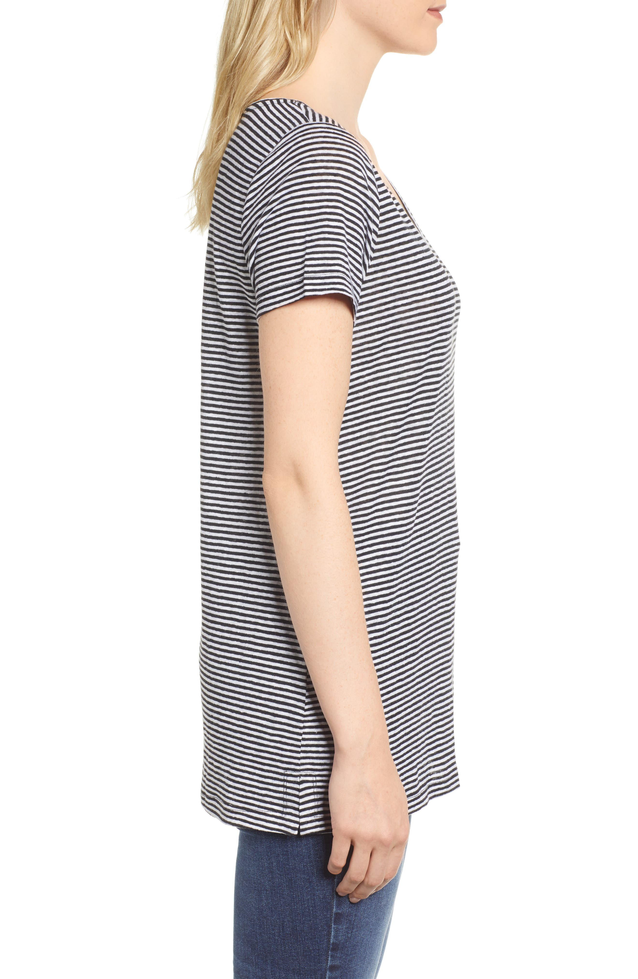 Stripe Long Organic Linen Top,                             Alternate thumbnail 3, color,                             Black/ White