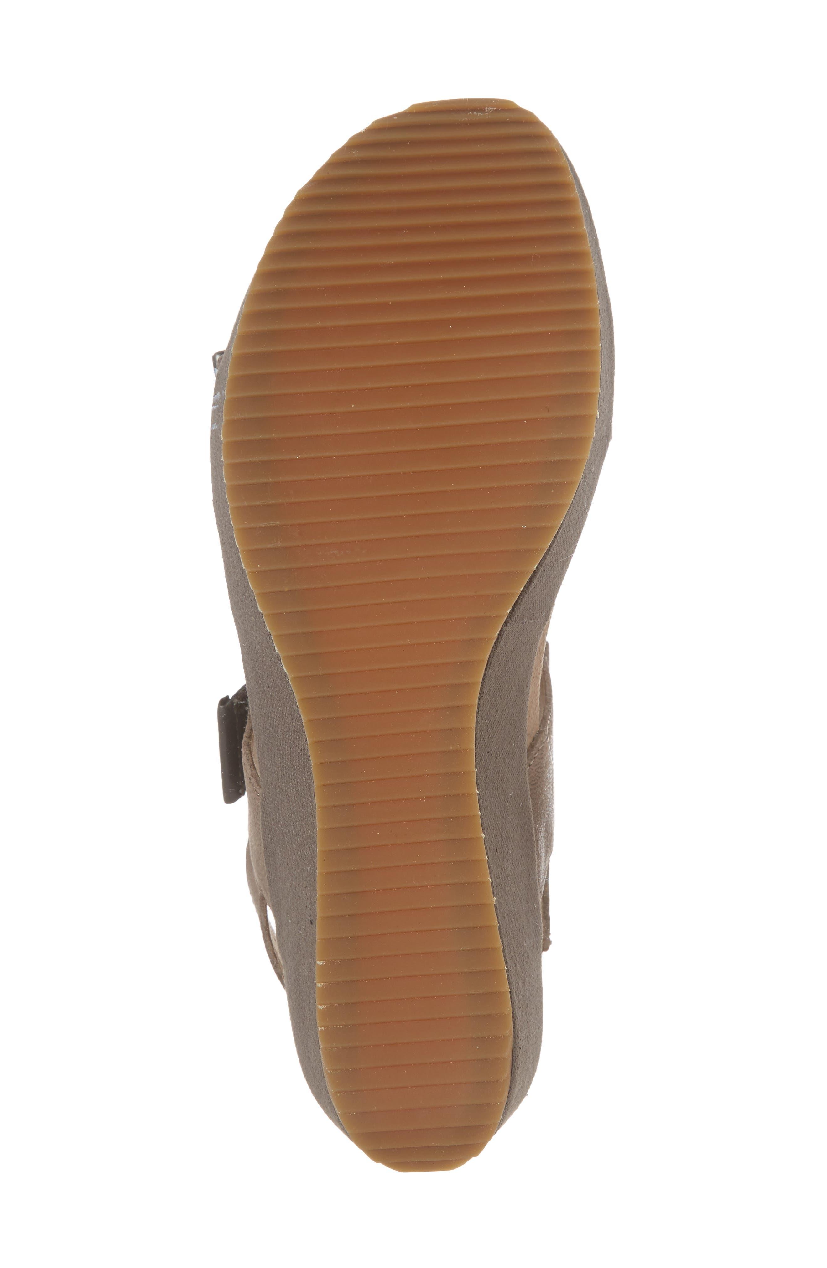Tiffany Wedge Sandal,                             Alternate thumbnail 6, color,                             Stone Leather