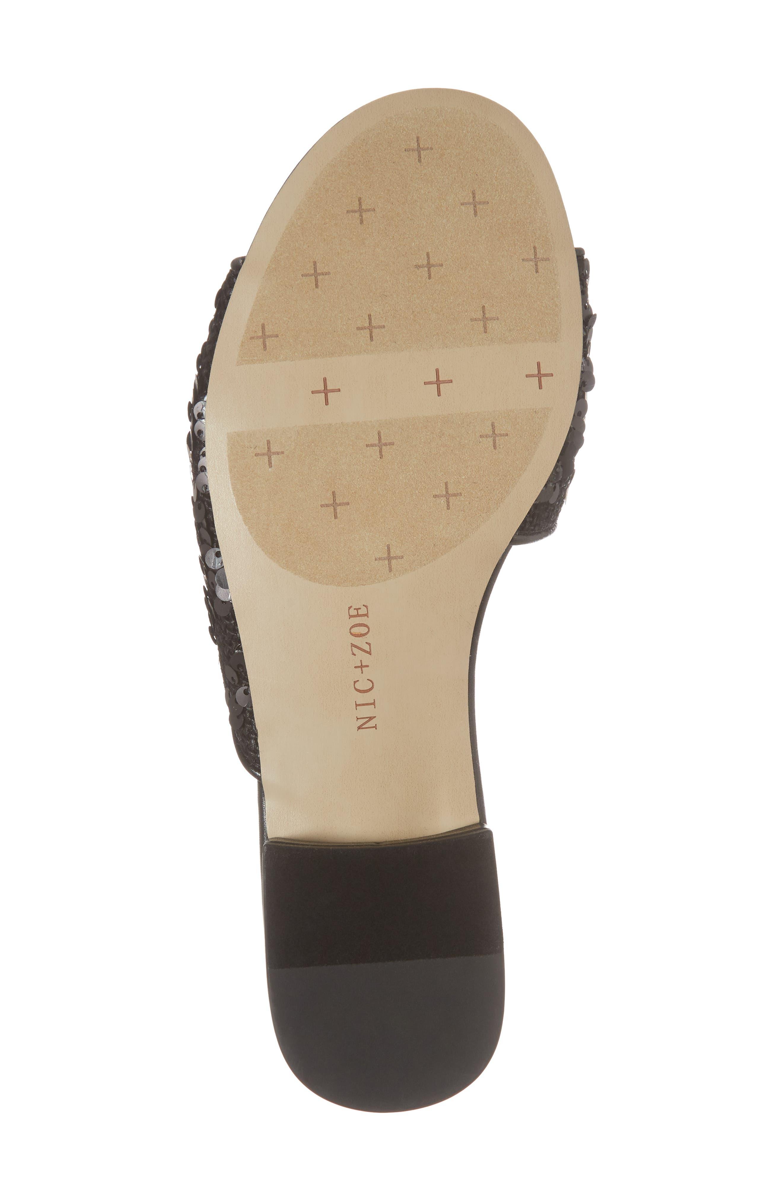 Stella Slide Sandal,                             Alternate thumbnail 6, color,                             Black Sequin Fabric