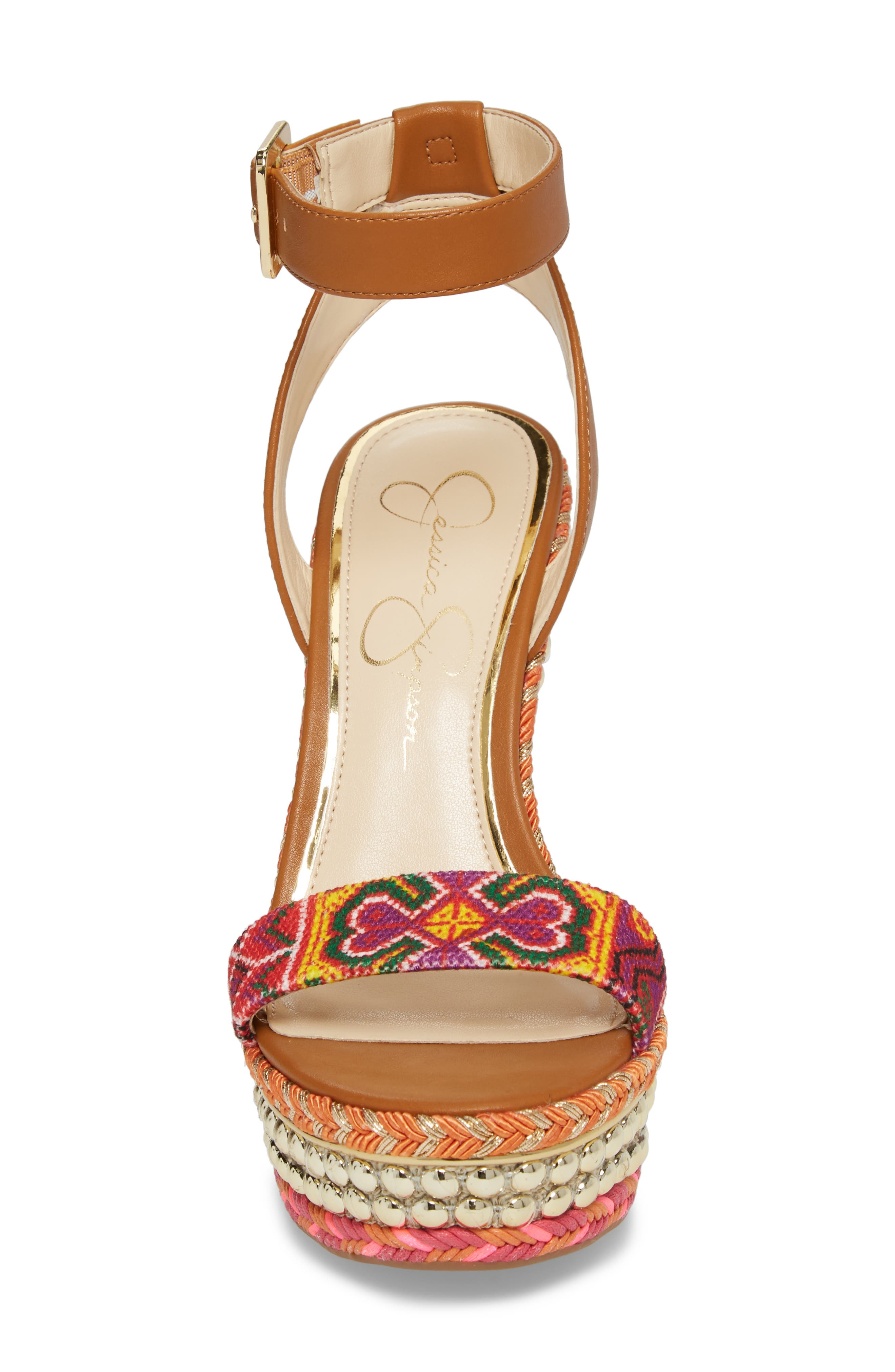Alinda Embellished Wedge Sandal,                             Alternate thumbnail 4, color,                             Red Multi
