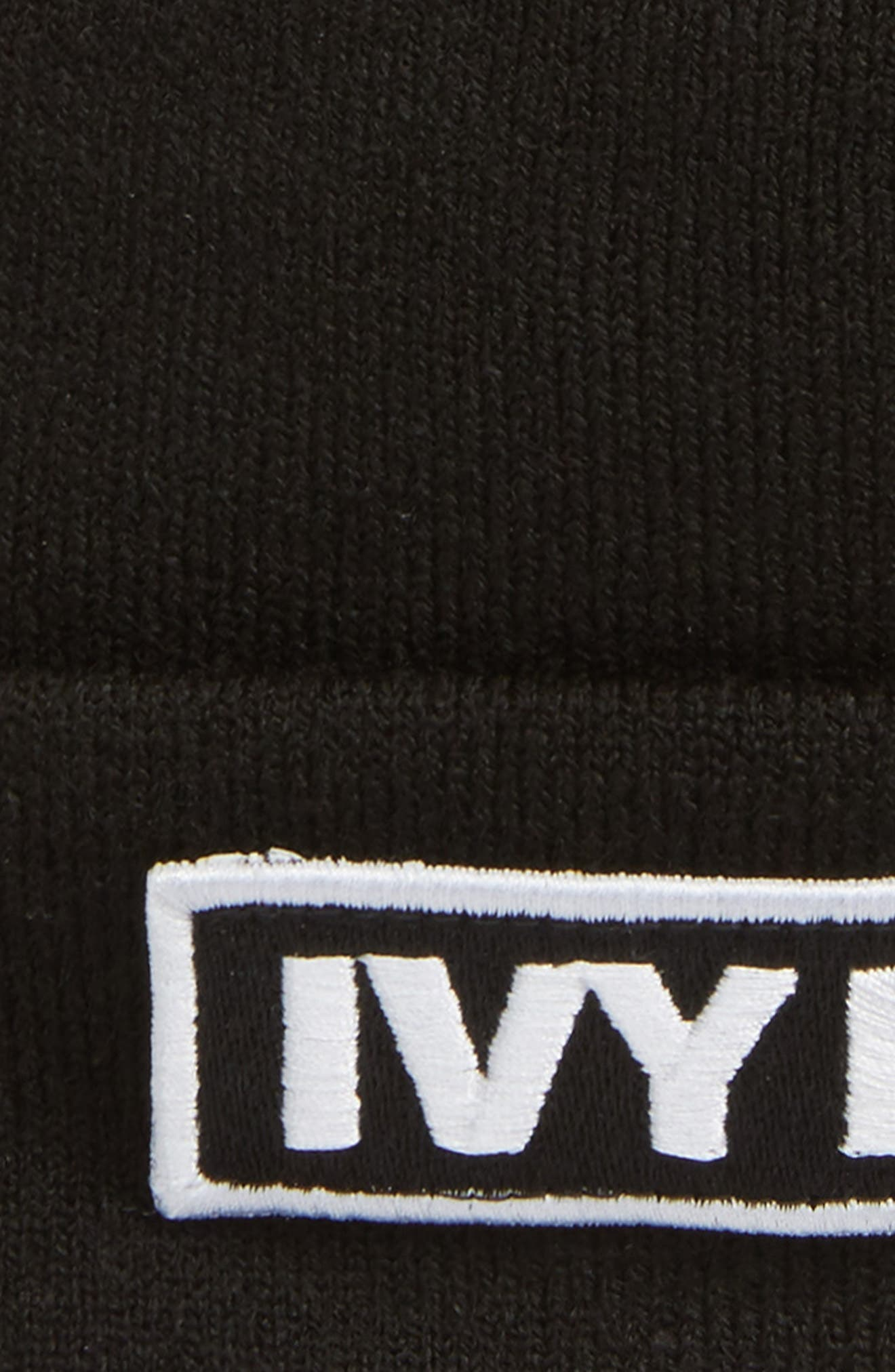 Embroidered Patch Beanie,                             Alternate thumbnail 2, color,                             Black