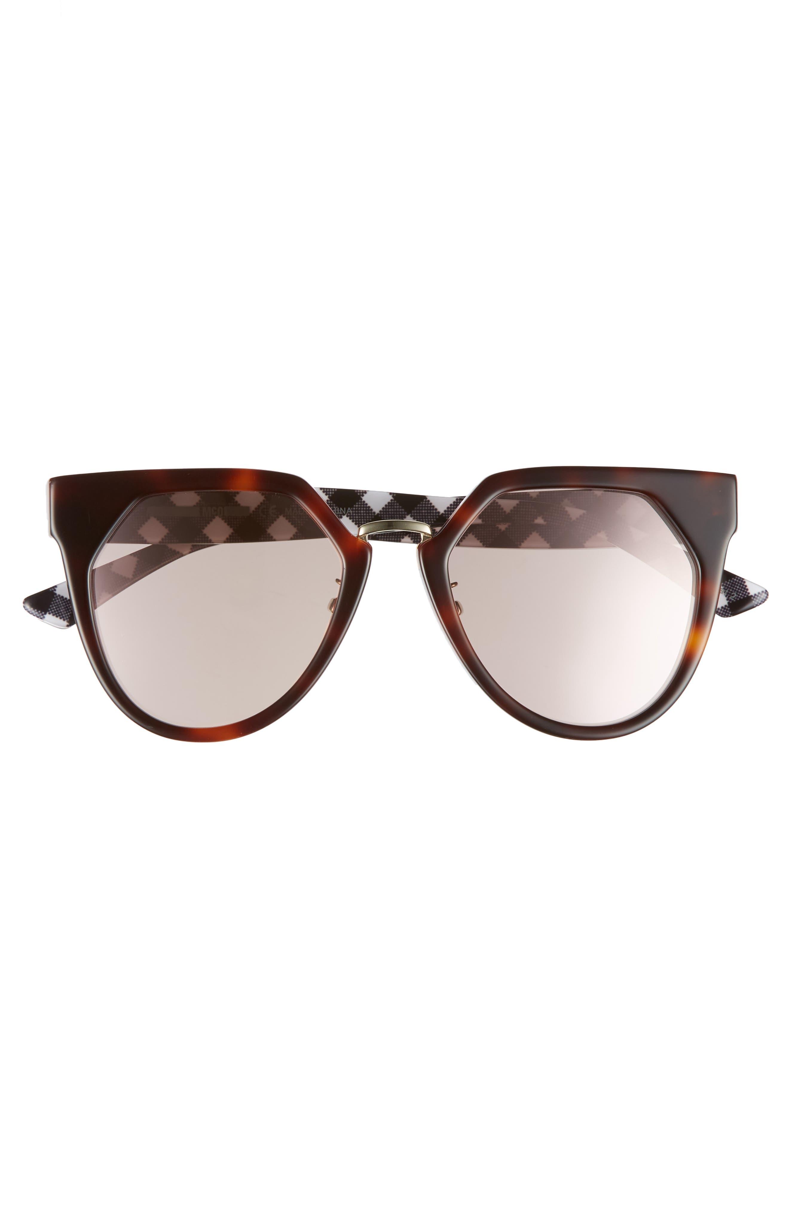 53mm Cat Eye Sunglasses,                             Alternate thumbnail 3, color,                             Havana