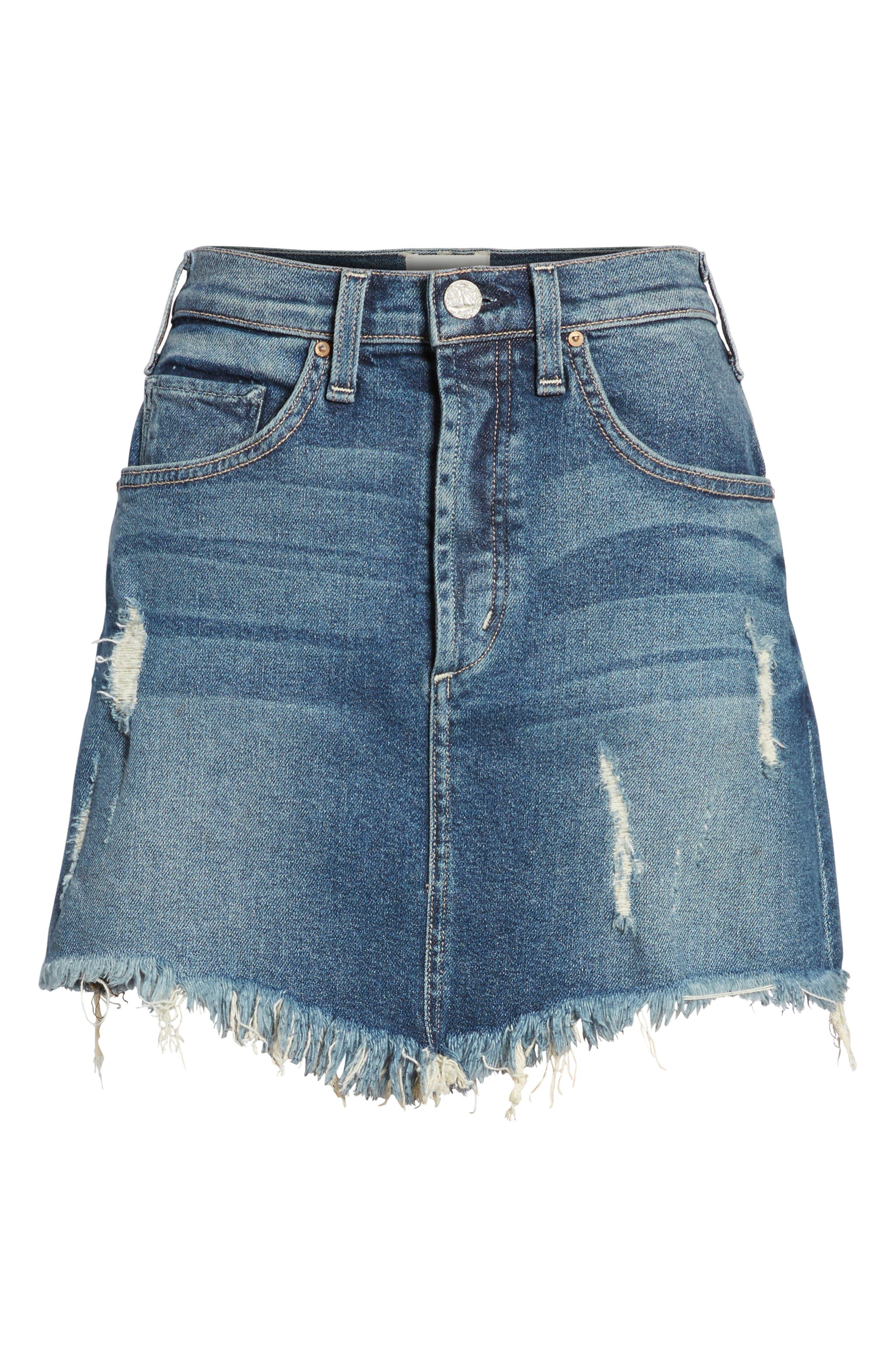 Izabel Angled Hem Denim Skirt,                             Alternate thumbnail 7, color,                             Minionette