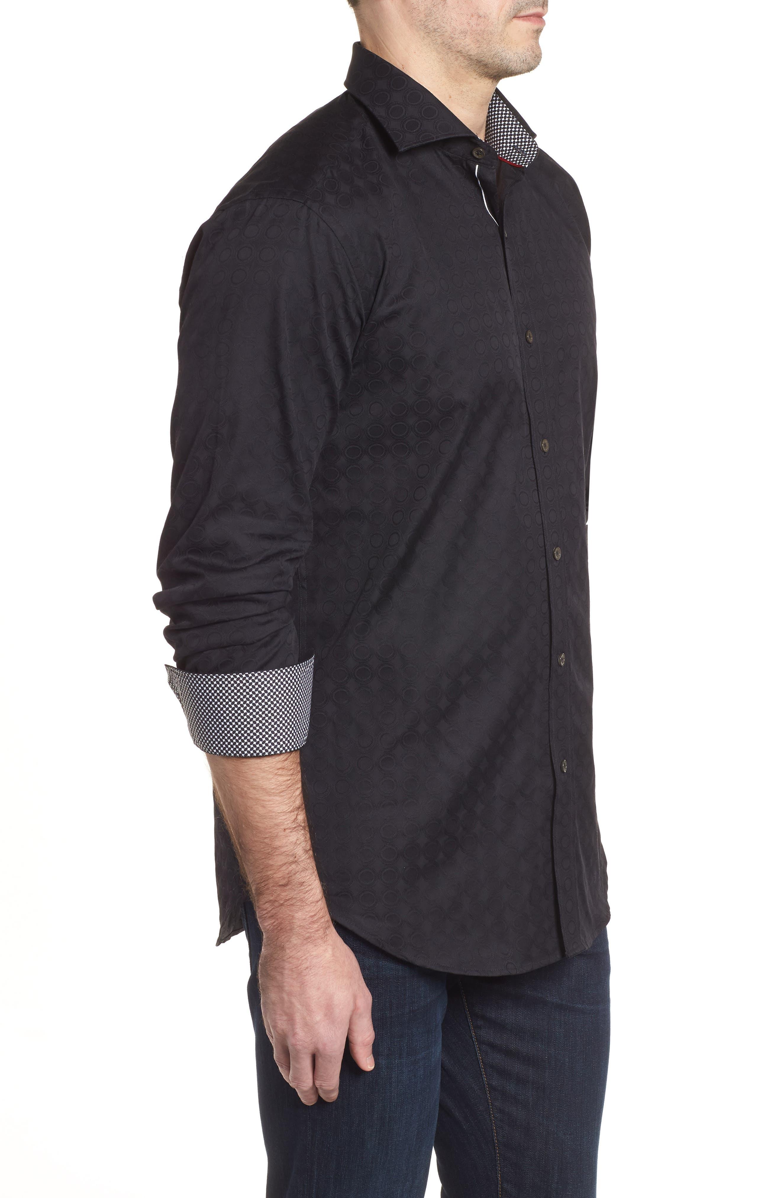 Shaped Fit Circle Print Sport Shirt,                             Alternate thumbnail 3, color,                             Black