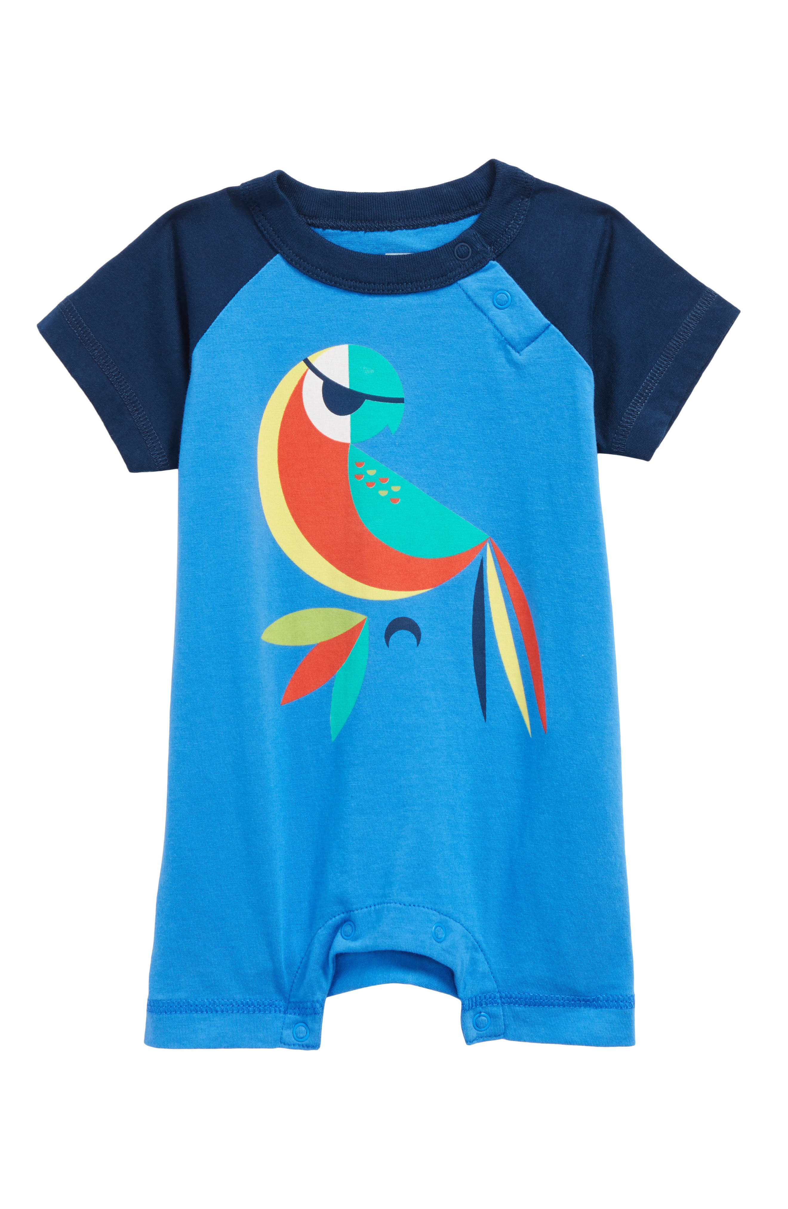 Parrot Romper,                             Main thumbnail 1, color,                             Palace Blue