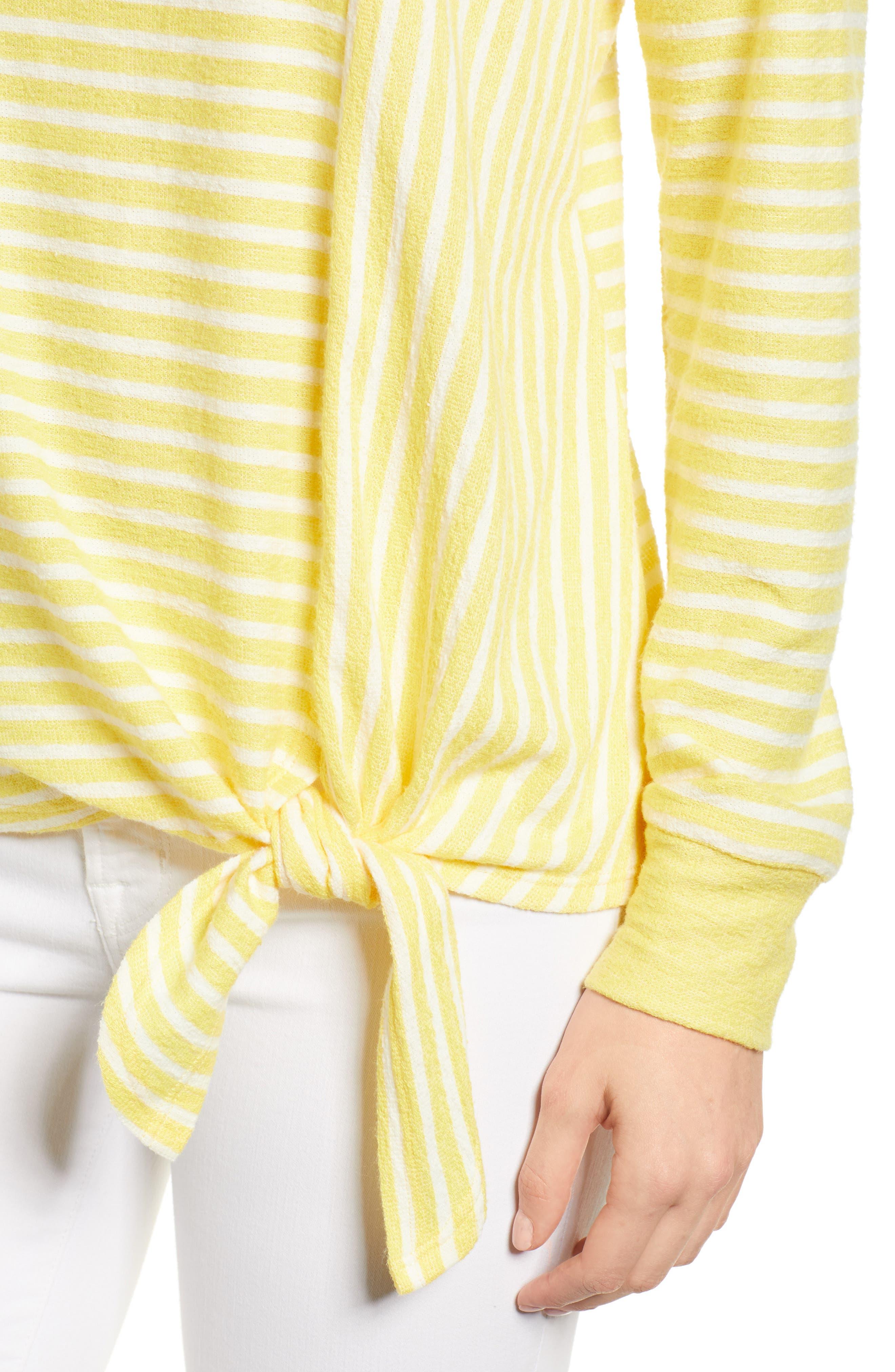 Tie Front Stripe Top,                             Alternate thumbnail 4, color,                             Yellow/ White Stripe