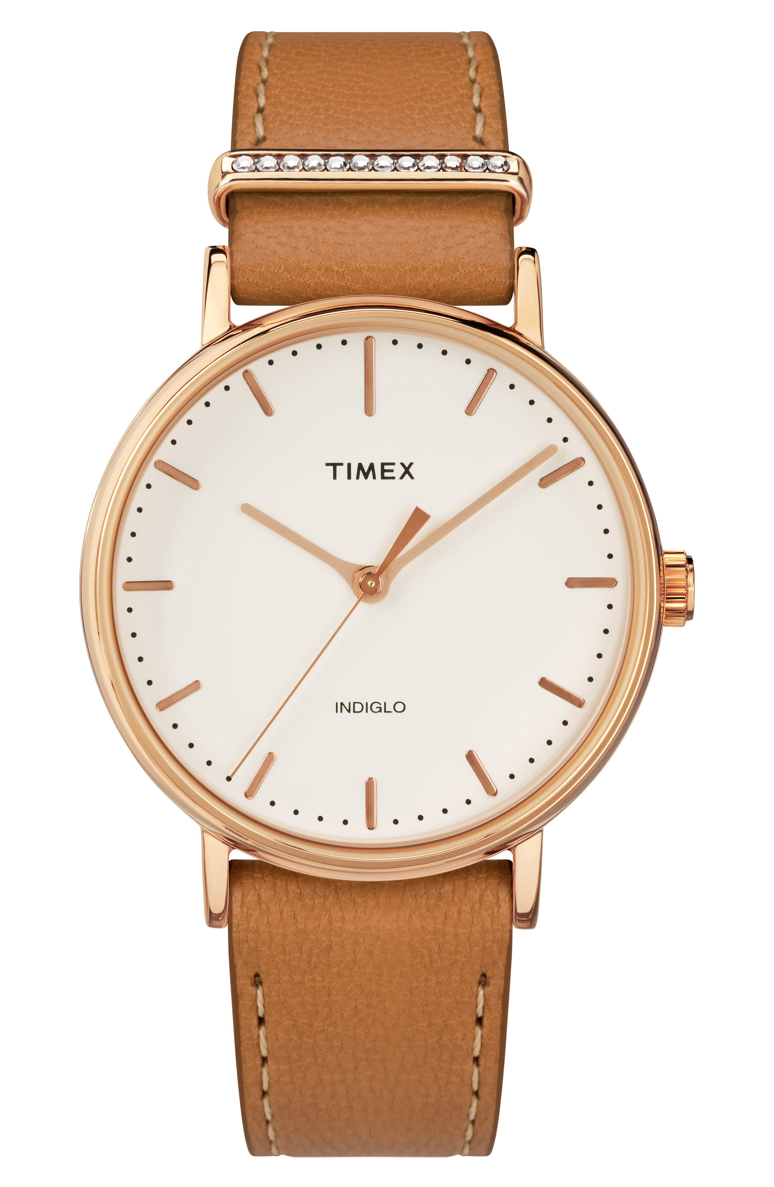 Timex Fairfield Leather Strap Watch, 37mm,                         Main,                         color, Tan/ Cream/ Rose Gold